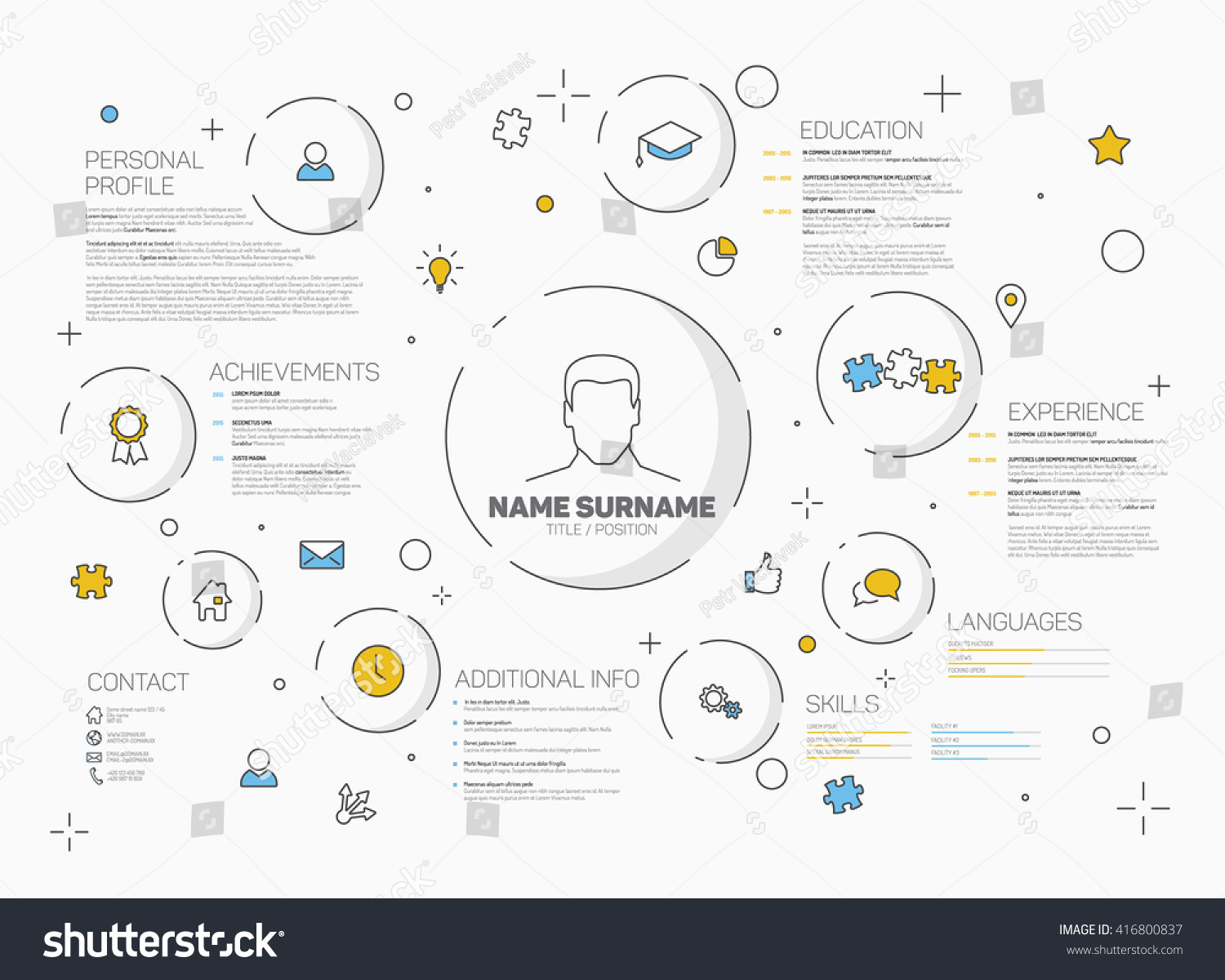 vector original minimalist cv resume template stock vector 416800837