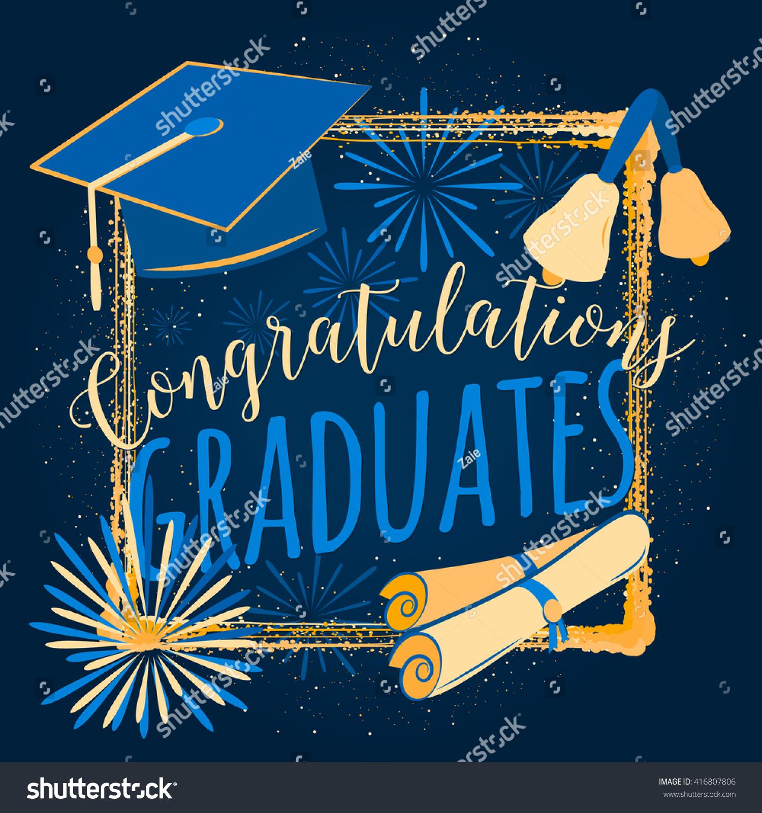 Vector Illustration Graduation Background Congratulations ...