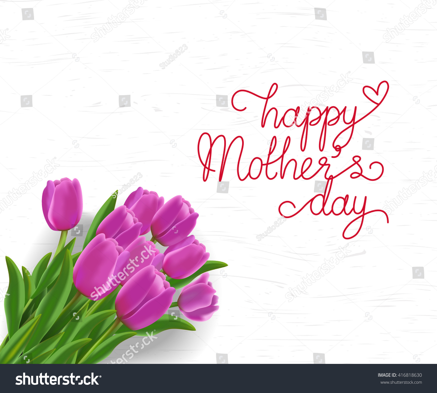 Bouquet Of Pink Tulips With Happy Mother Day Wording On White Wooden