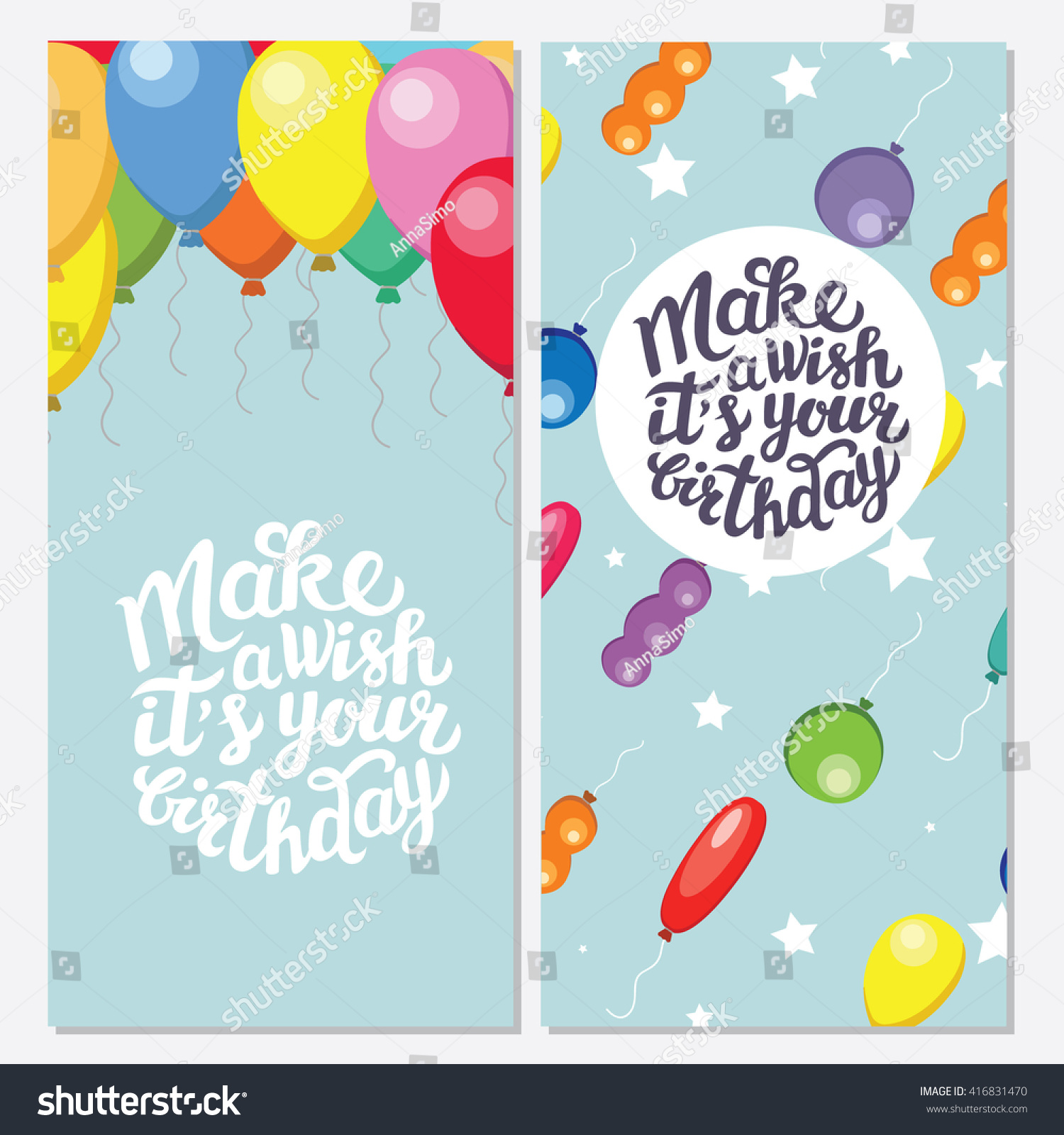 Make Wish Your Birthday Set Two Stock Vector (Royalty Free