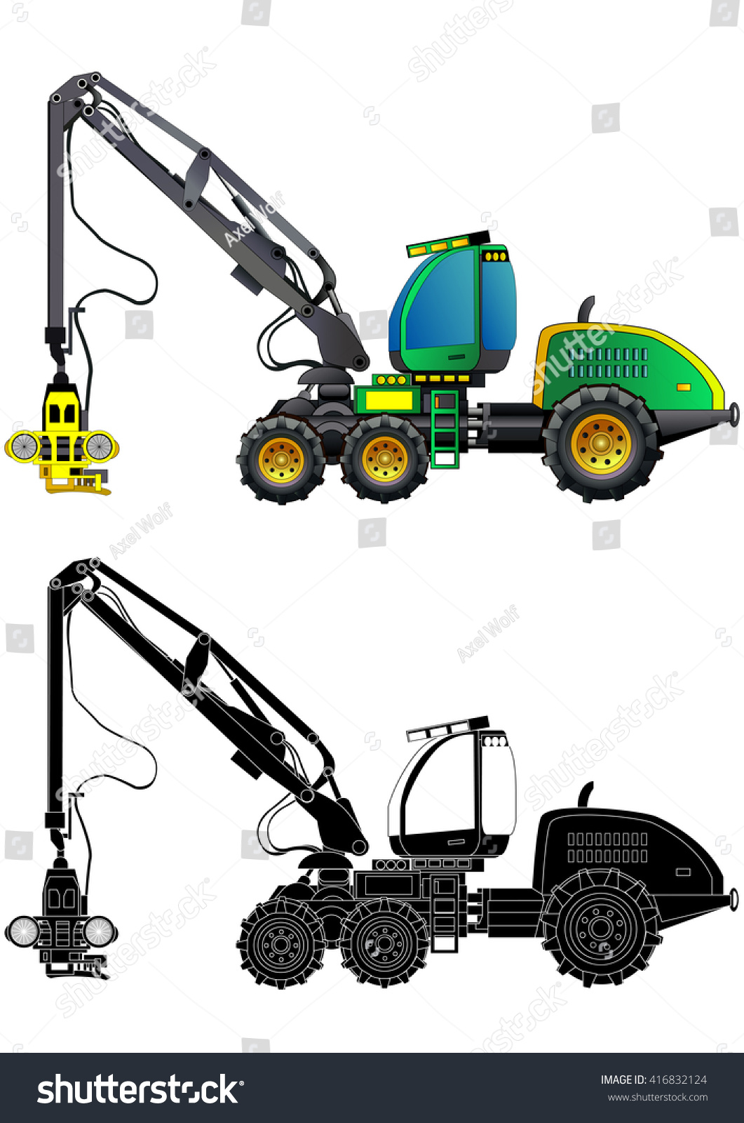 Tractor Cartoon Picker : Forestry production machine harvester heavy stock