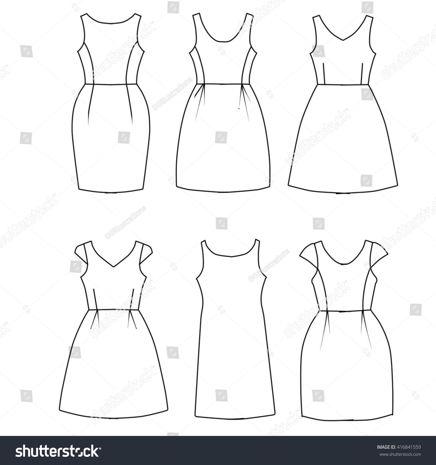 Set Of Flat Sketch Fashion Template