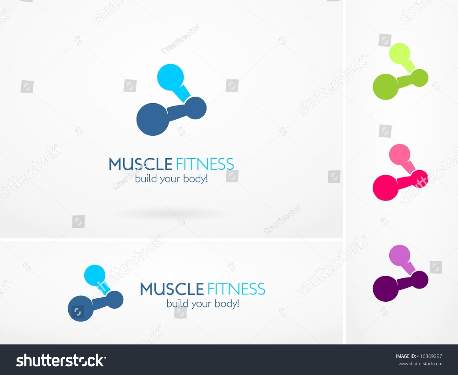 vector design muscle fitness icon logo stock vector royalty free