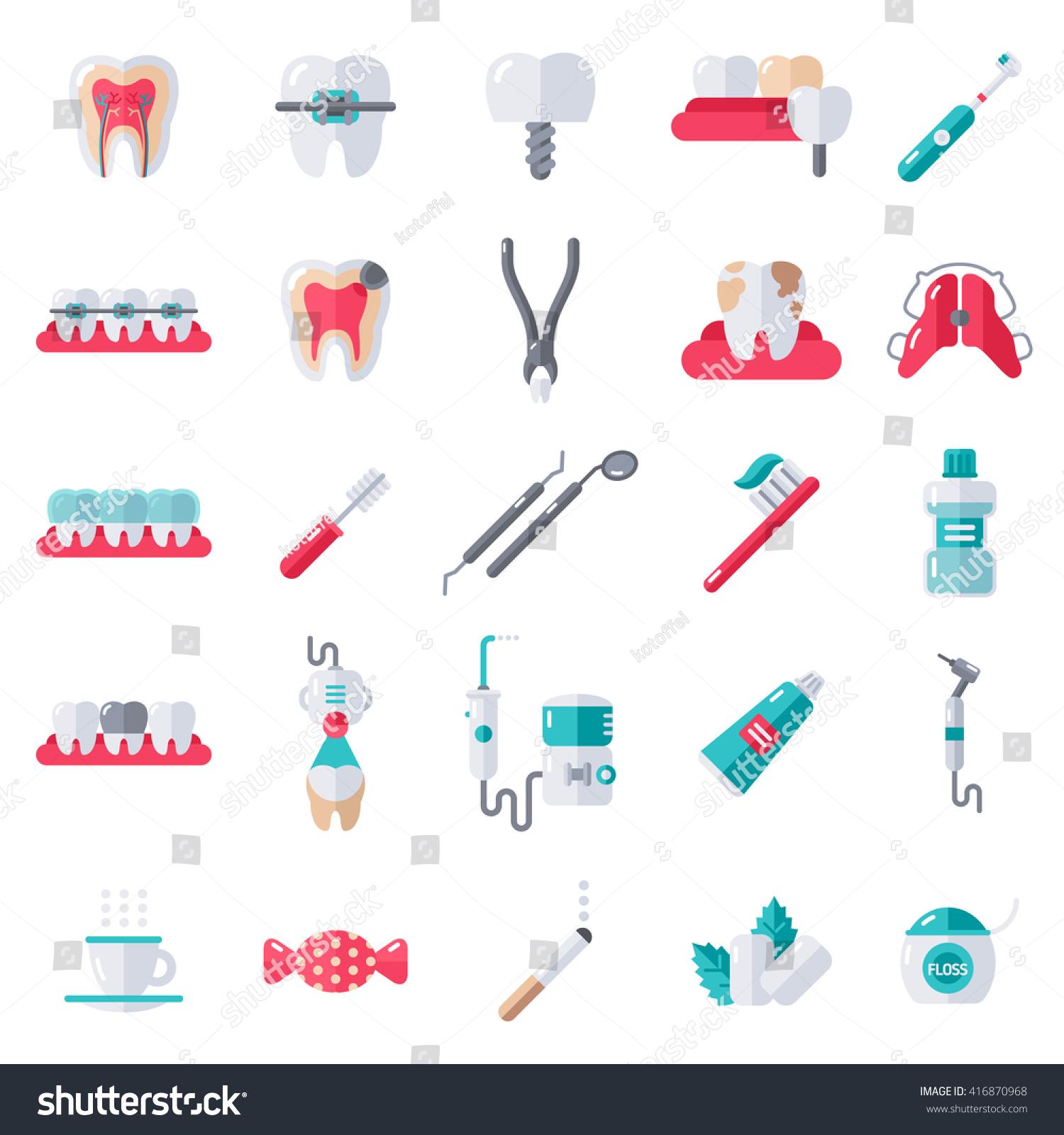 Dental Flat Icons Set Vector Illustration Stock Vector ...