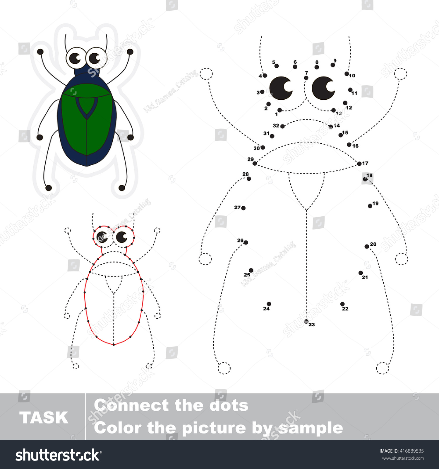 Beetle Vector Be Traced By Numbers Stock Vector 416889535 - Shutterstock
