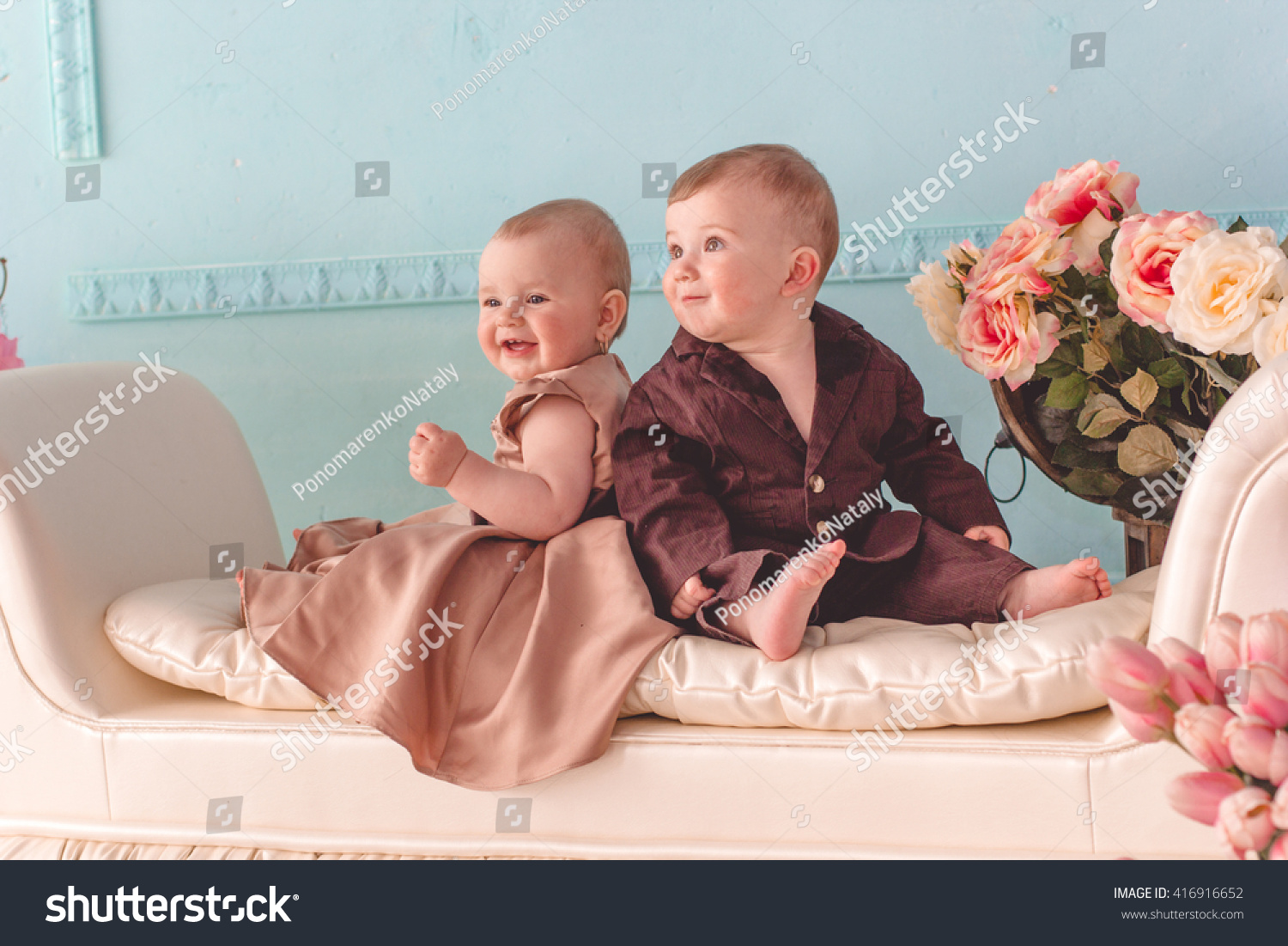 couple babies boy girl wearing fashion stock photo (royalty free