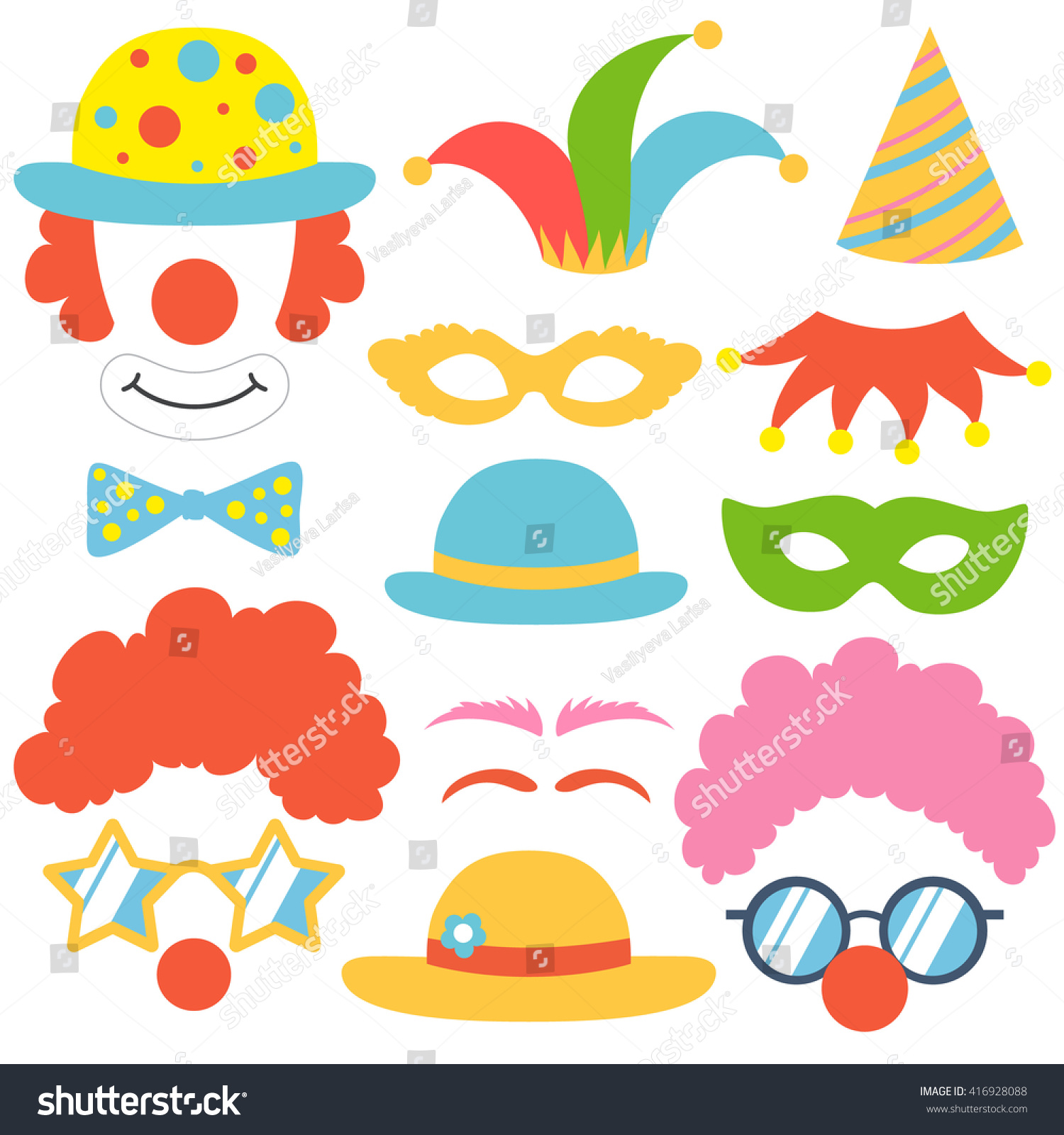 Clown props set. Party funnyman birthday photo booth props. Hat, wig ...