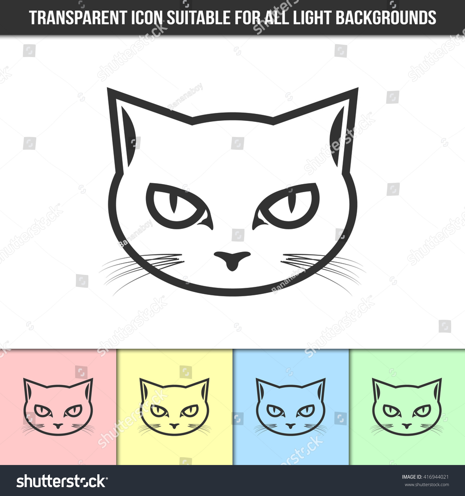 simple outline transparent cat head icon stock vector 416944021