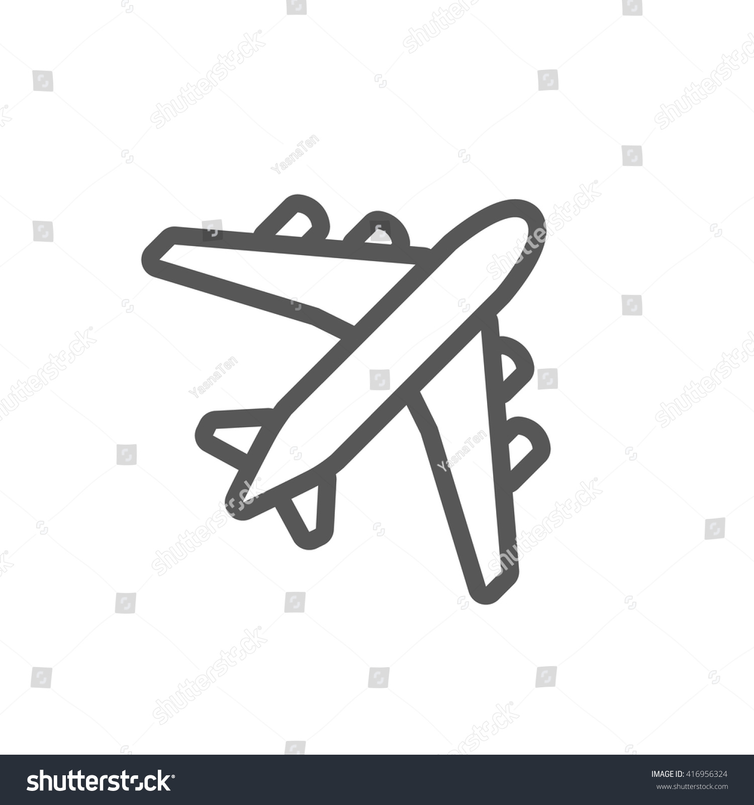 black plane outline simple airplane line icon design