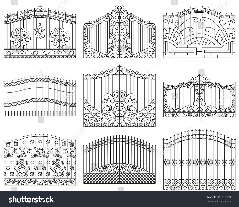 Forged gates set  Decorative metal… Stock Photo 416960569