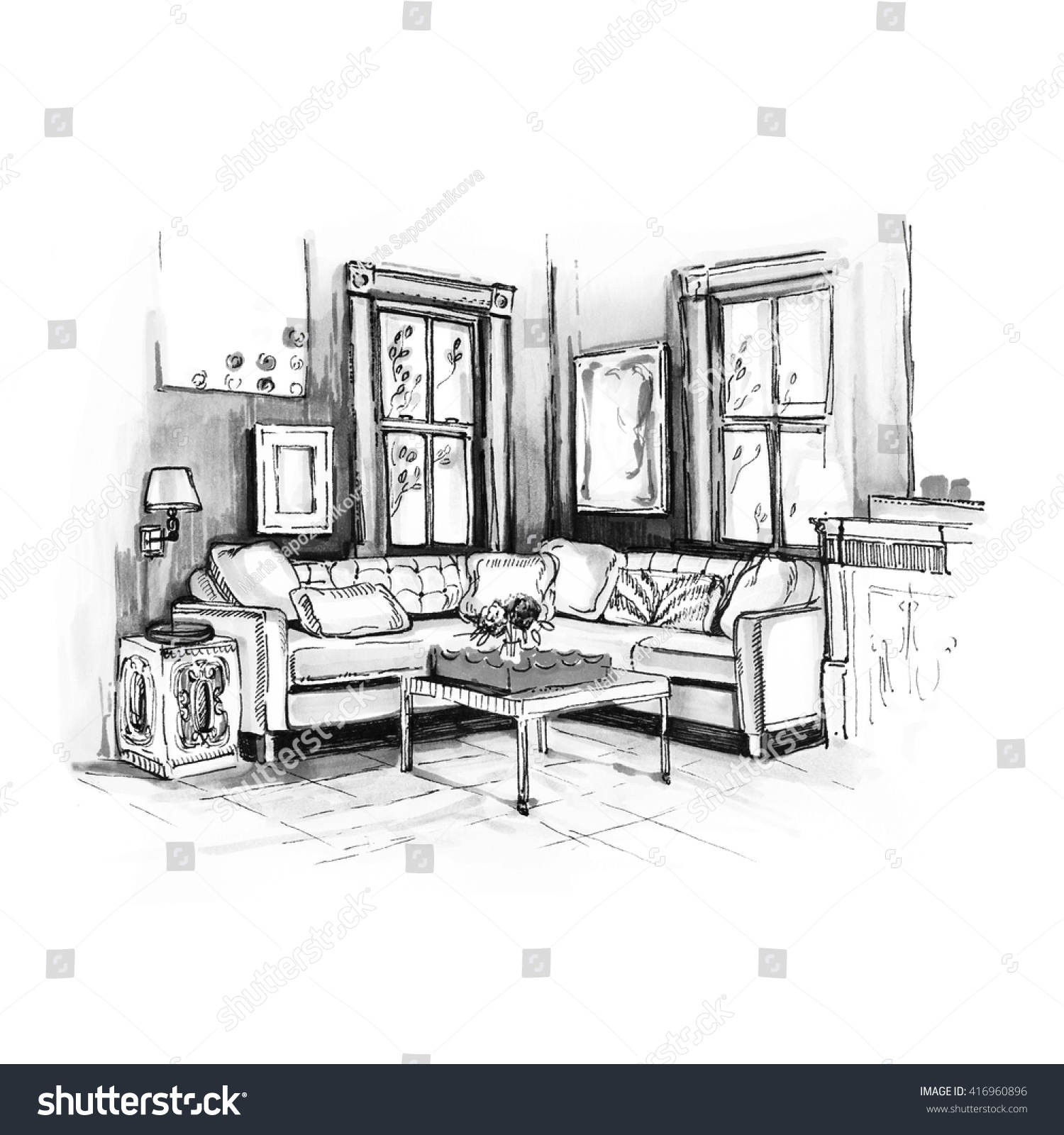 Modern interior of room with sofa and two windows on wall background sketch trendy contemporary