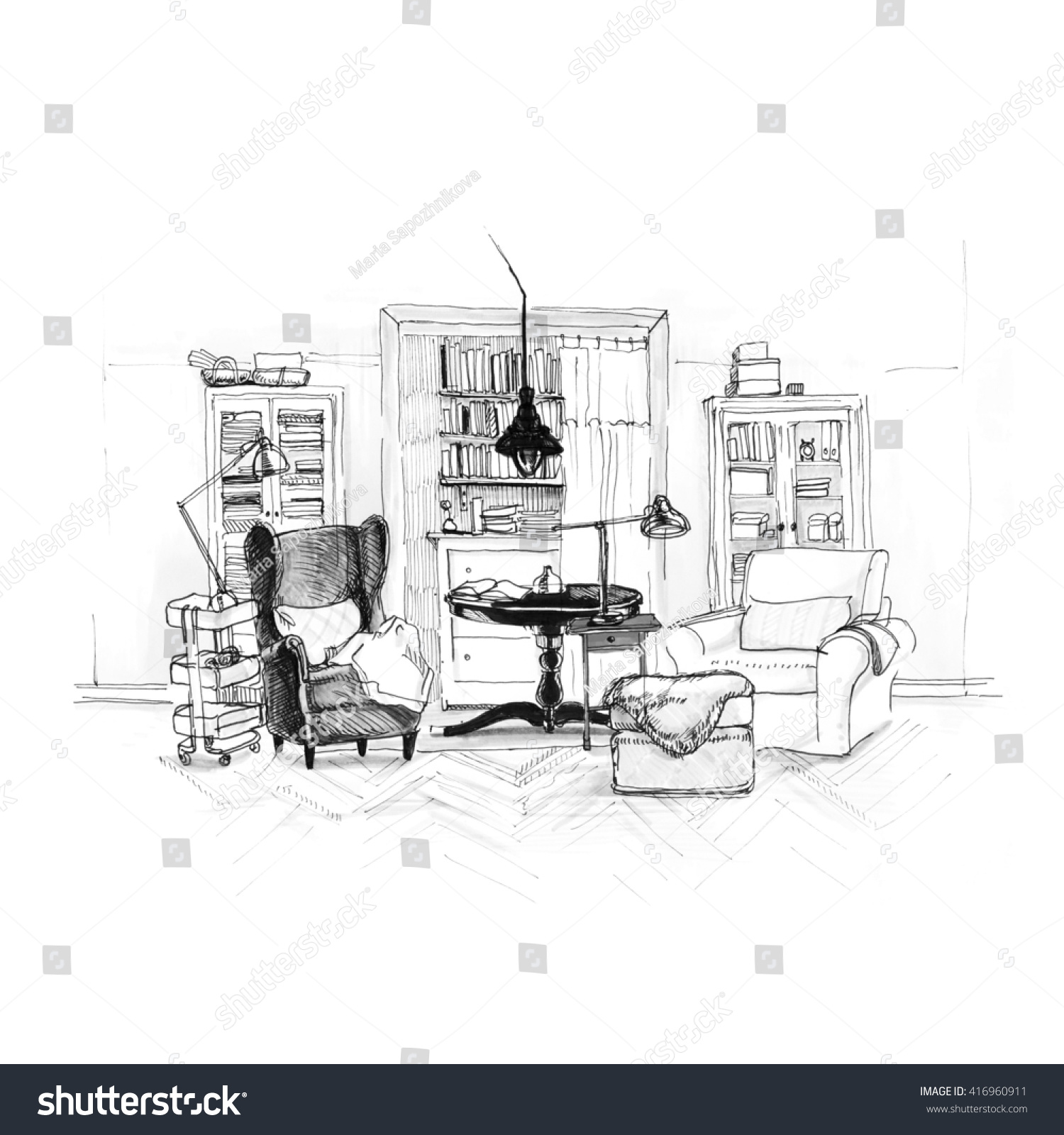 Modern interior of room with two armchairs and racks on wall background sketch trendy contemporary
