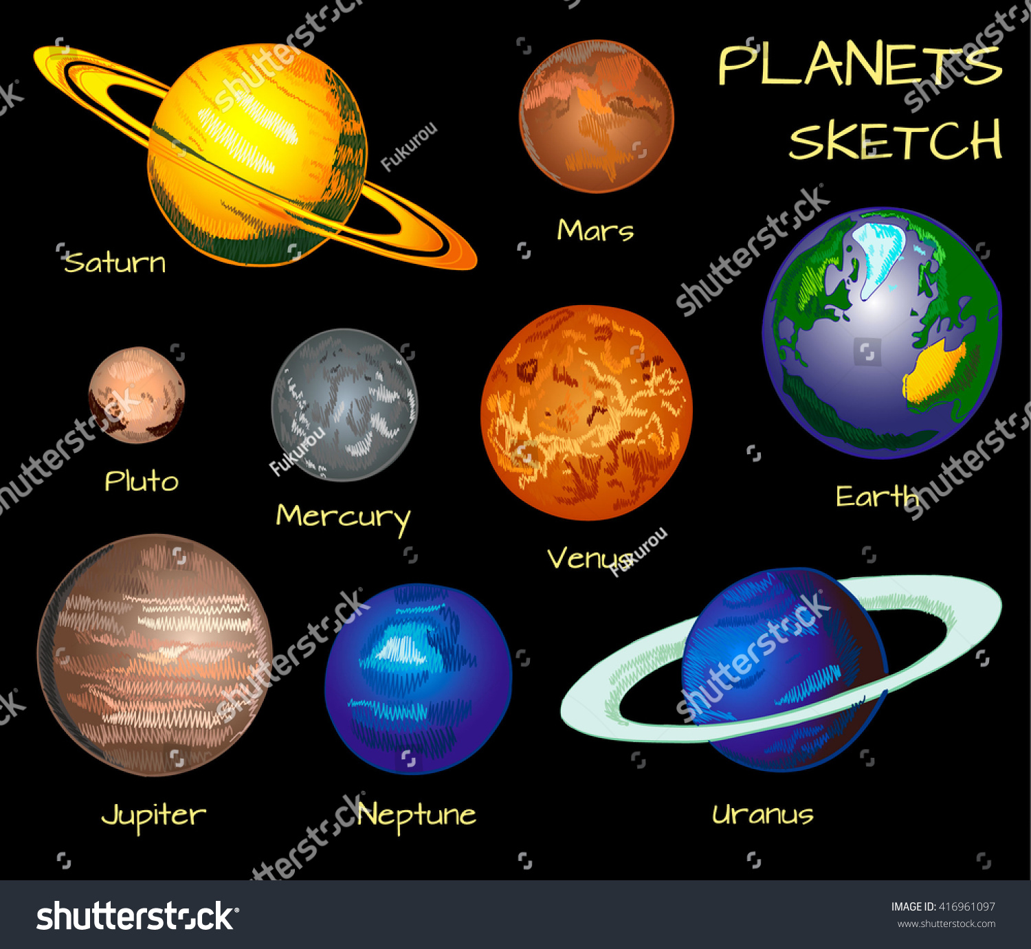 drawing of planets in solar system - photo #46