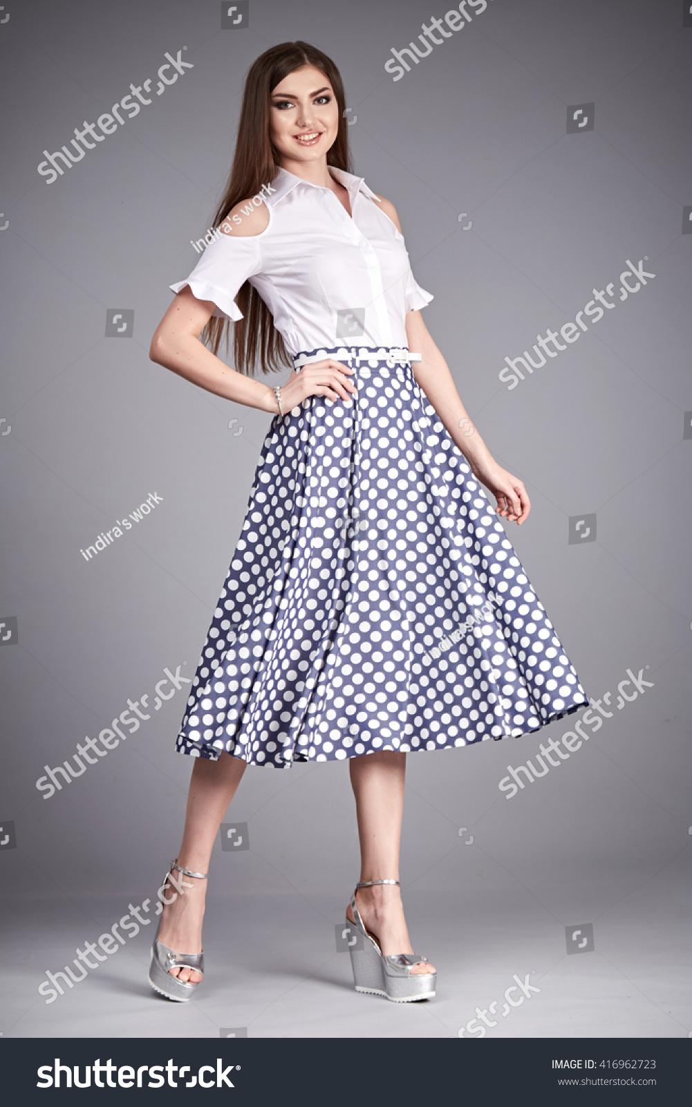 Silk Meeting In My Bedroom: Beautiful Woman Wear Skirt Blouse Silk Stock Photo