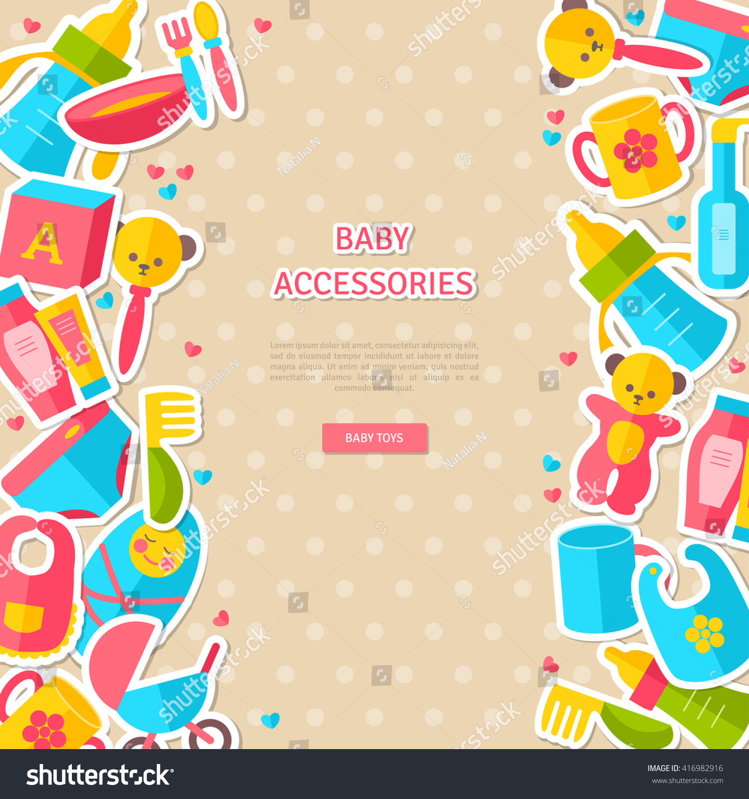 banner flat baby goods stickers vector stock vector royalty free