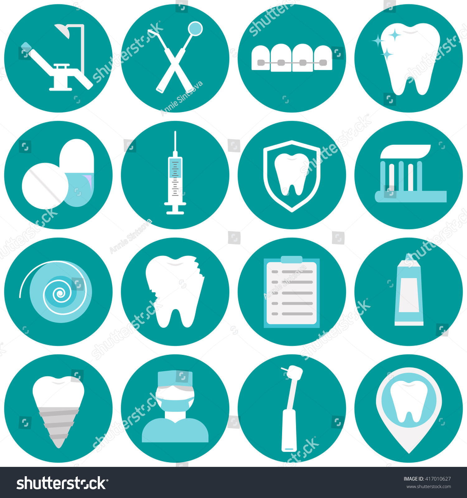 Dental Blue Flat Vector Icons Your Stock Vector
