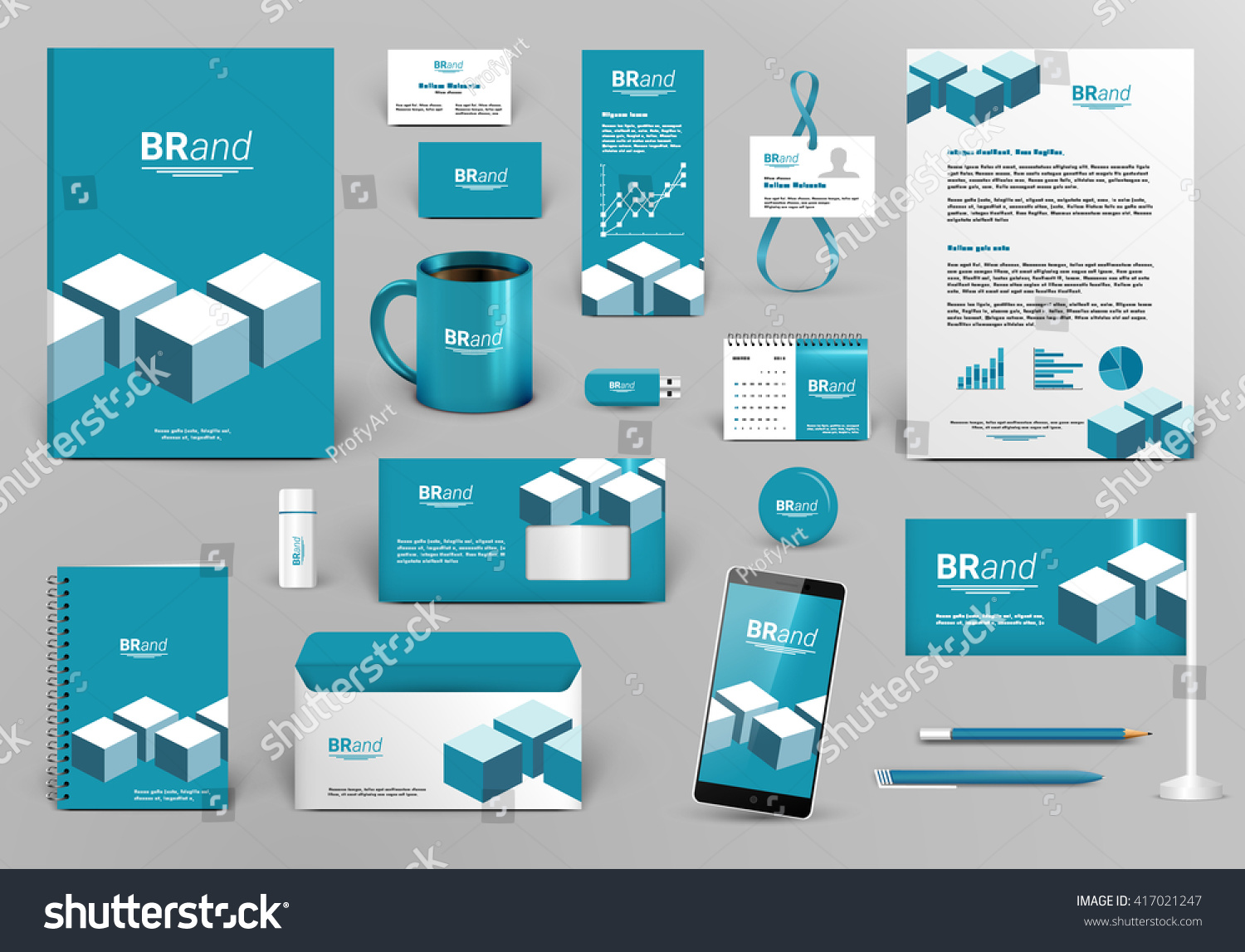 professional blue branding design kit cubes stock vector  professional blue branding design kit cubes for real estate investment corporate identity template