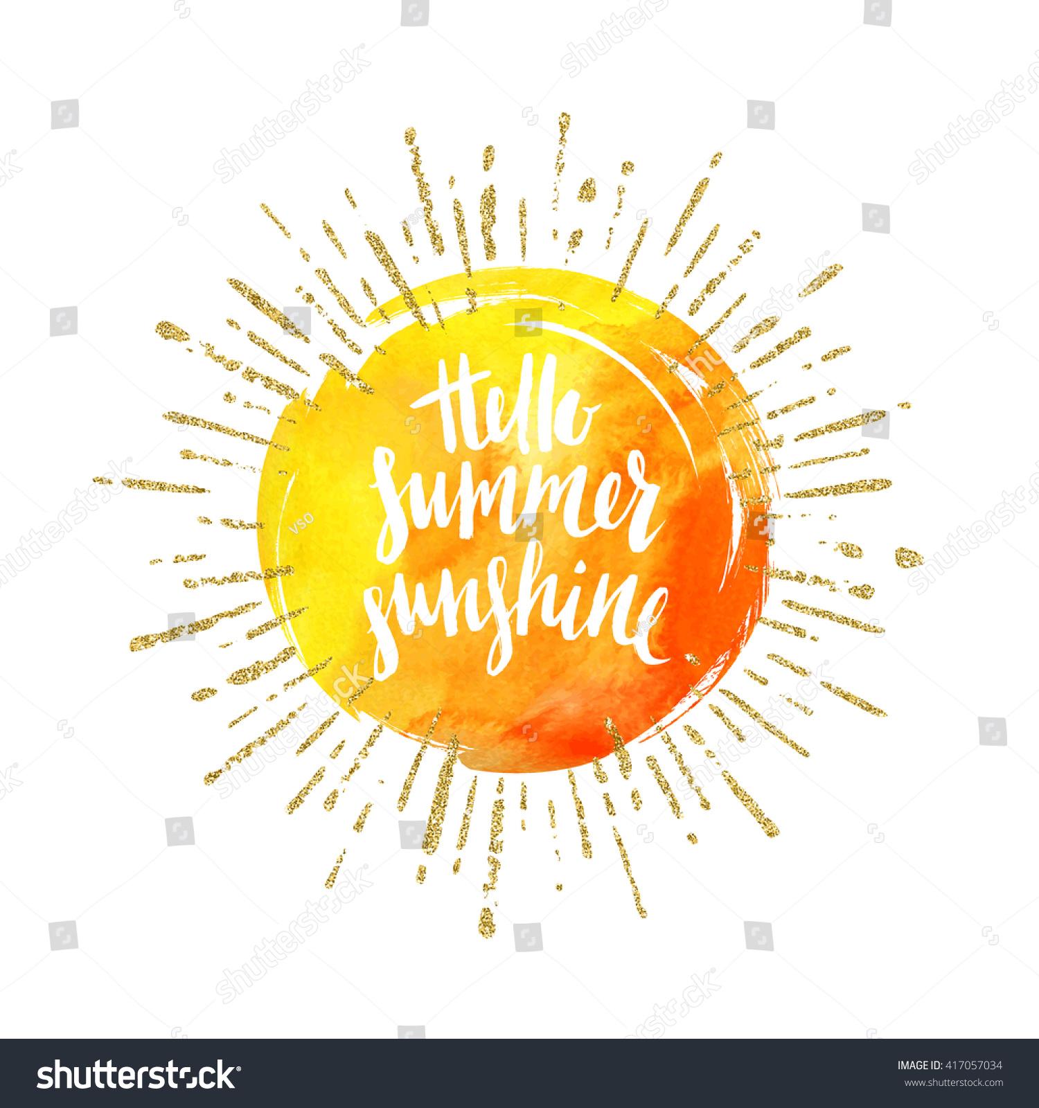 Hello Summer Sunshine Summer Calligraphy Summer Stock Vector 417057034 - Shut...