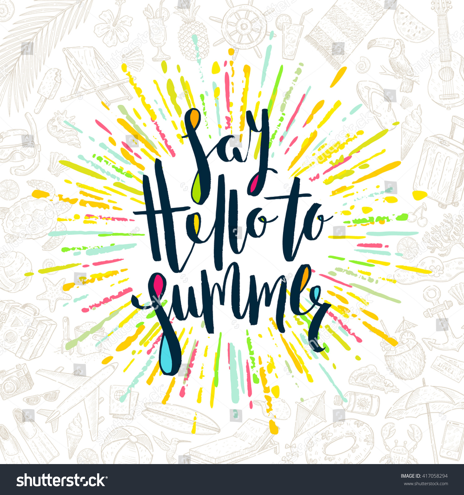 Say hello summer calligraphy stock vector