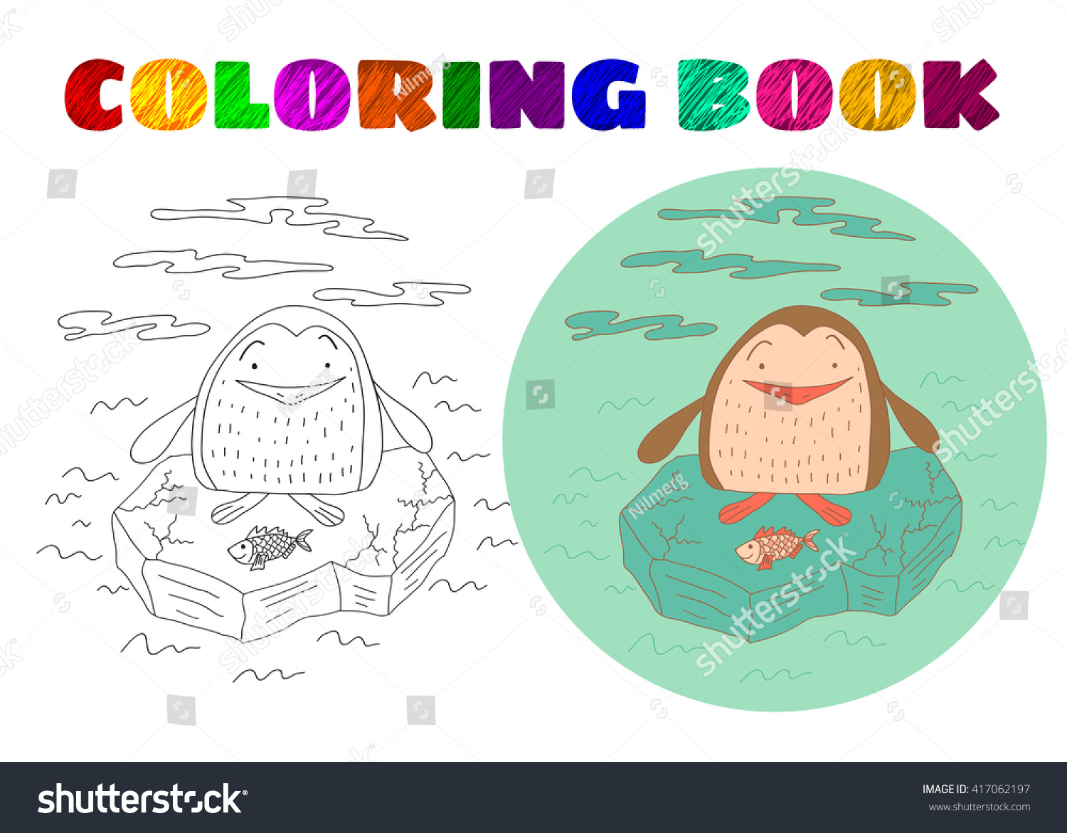 Coloring Book Kids Sketchy Little Penguin Stock Vector Royalty Free