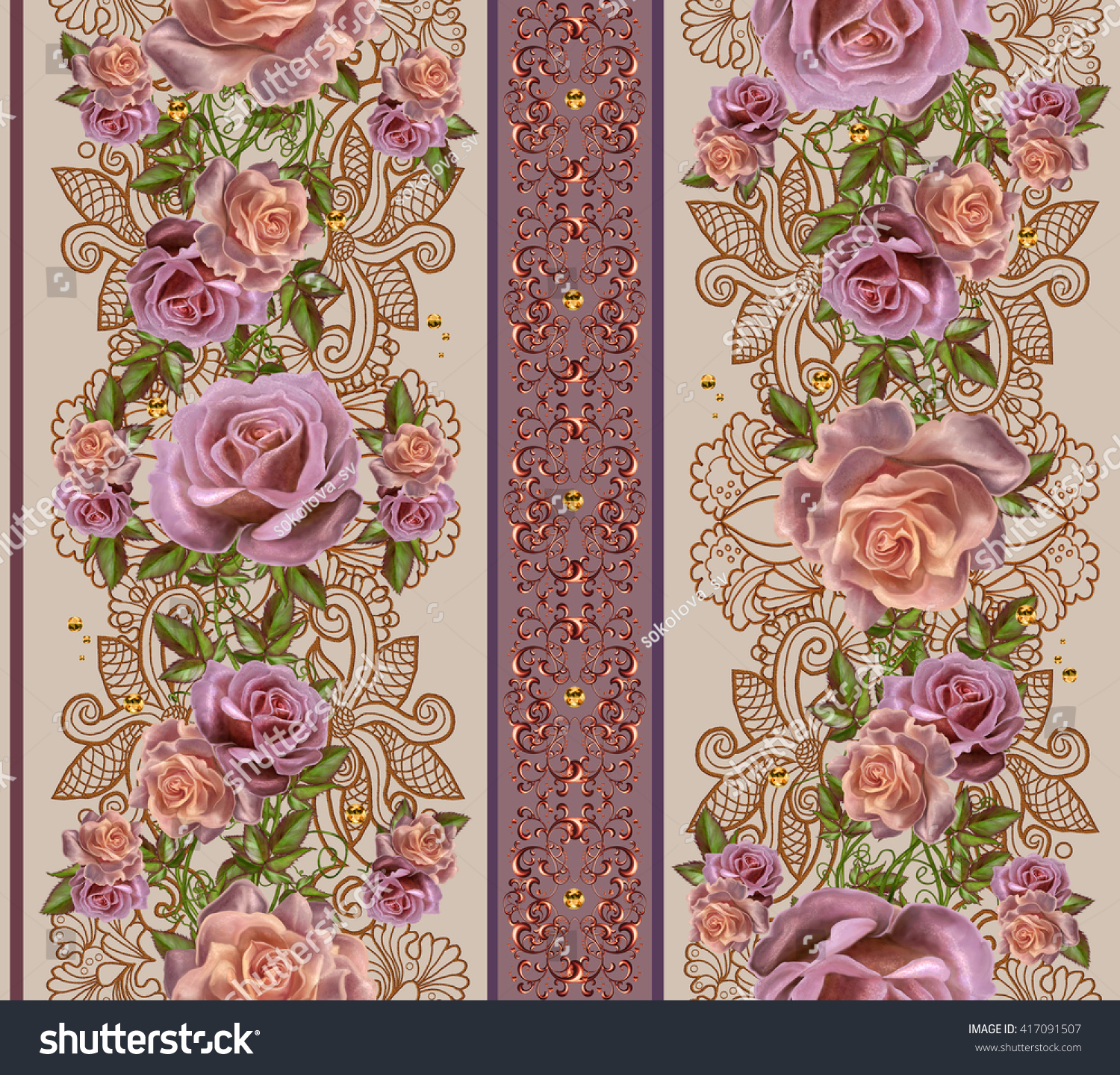 Vertical floral border Pattern seamless Old style Garland of pink and orange roses gold border gold mosaic