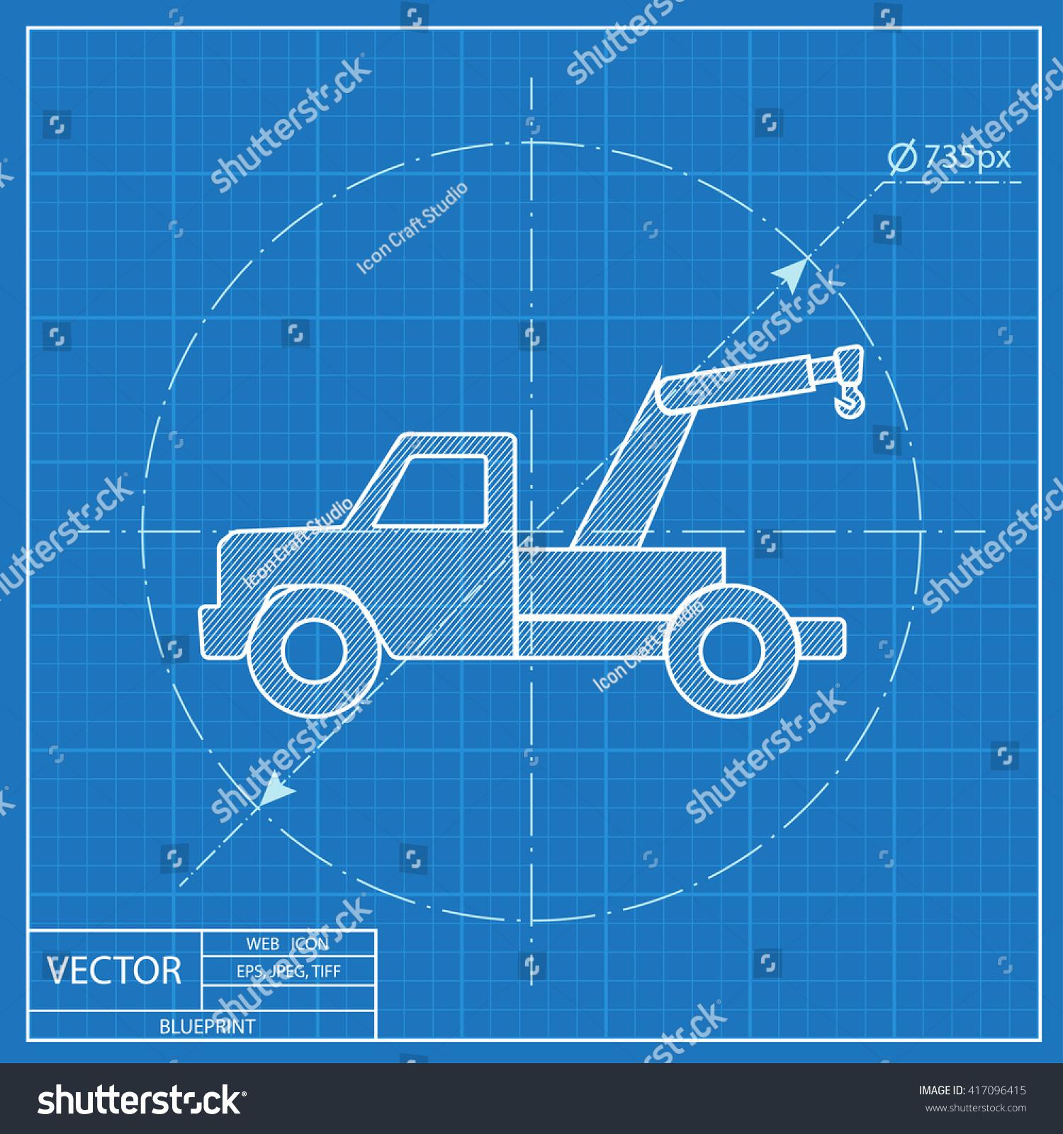 Blueprint icon tow car vectores en stock 417096415 shutterstock blueprint icon of tow car malvernweather Images