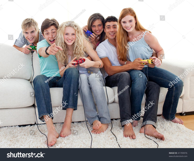Friends Having Fun Playing Video Games Stock Photo 41709976
