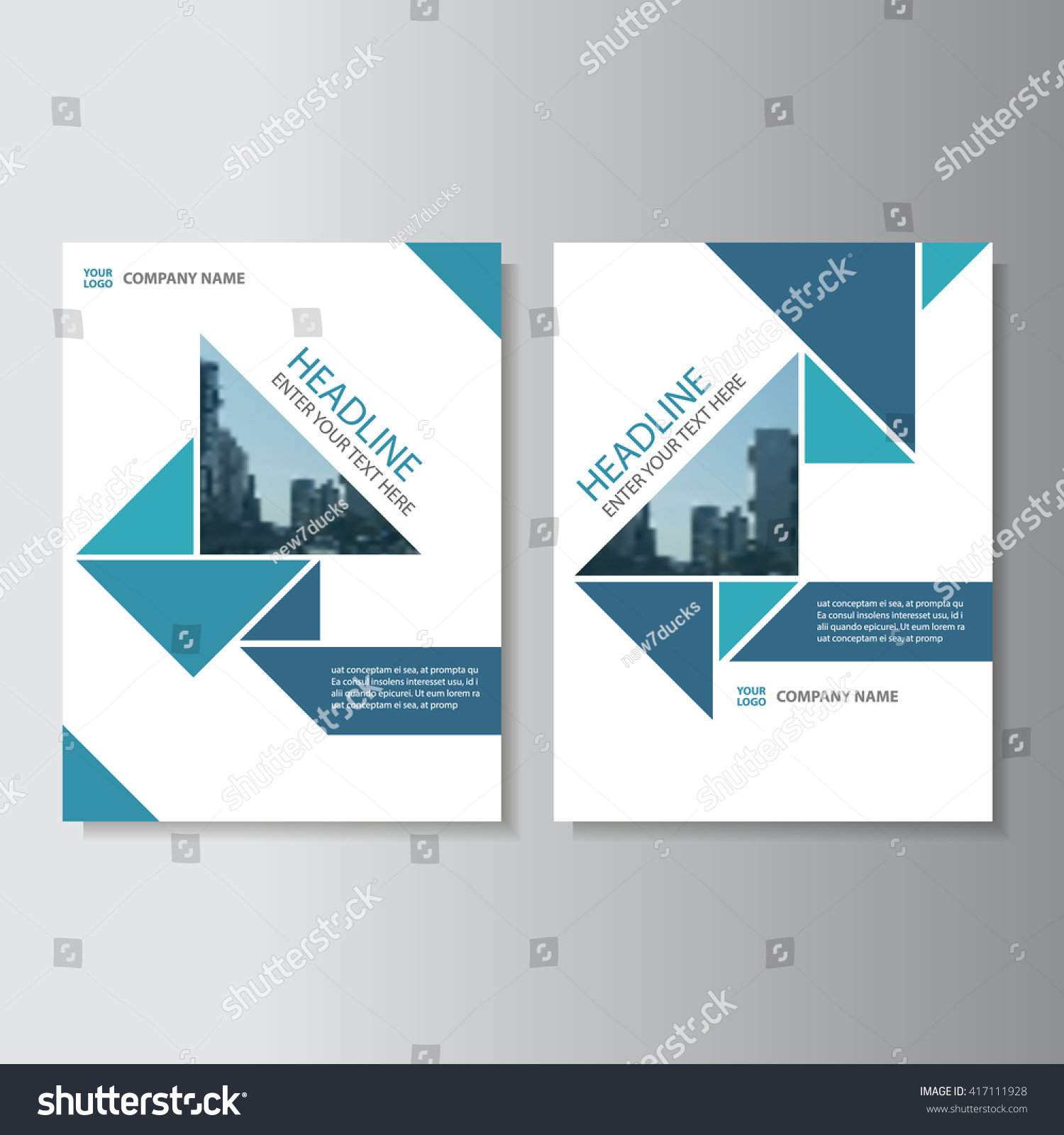 Annual Report Book Cover Design ~ Blue triangle vector annual report leaflet stock