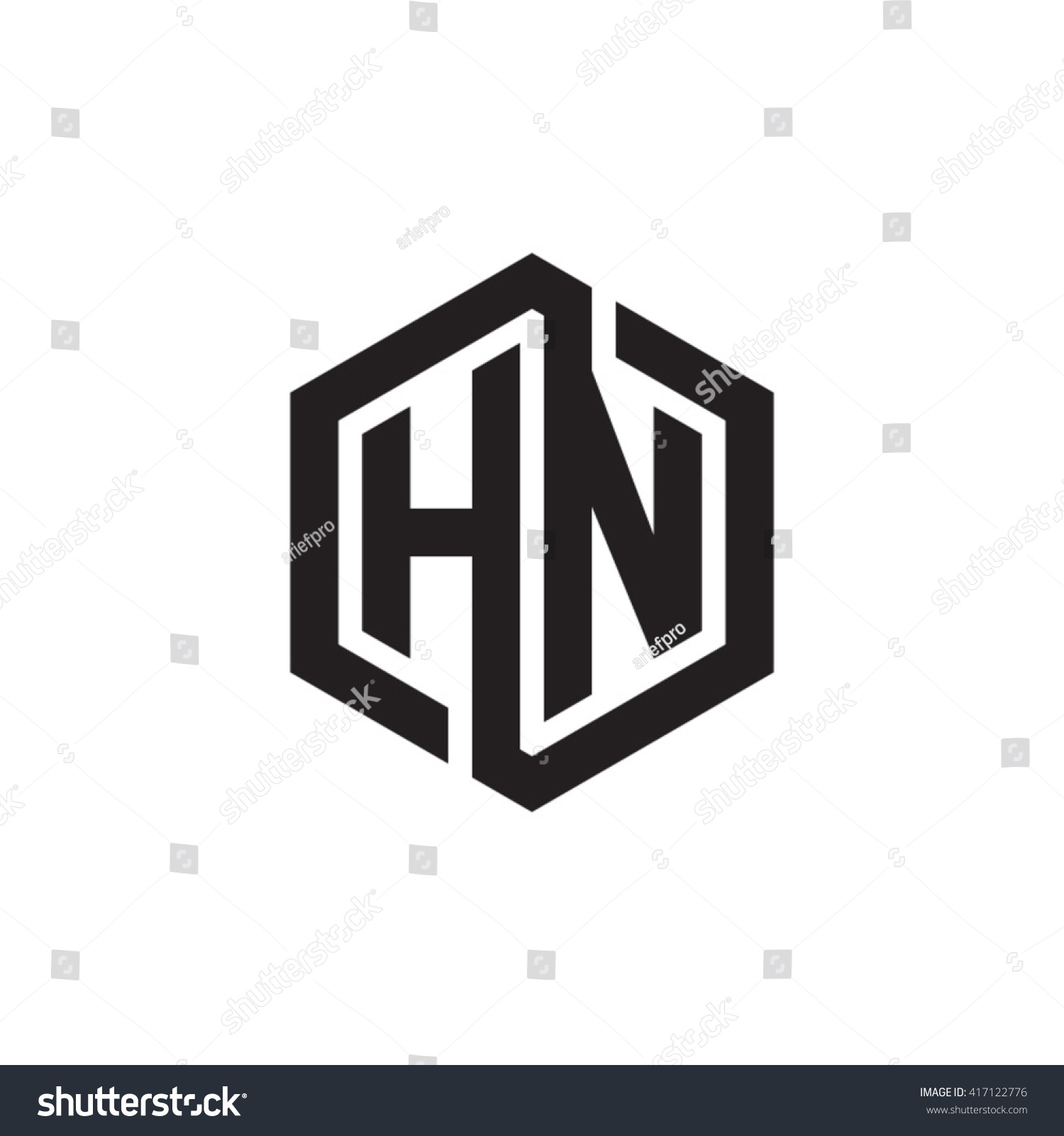 Hn Initial Letters Looping Linked Hexagon Stock Vector