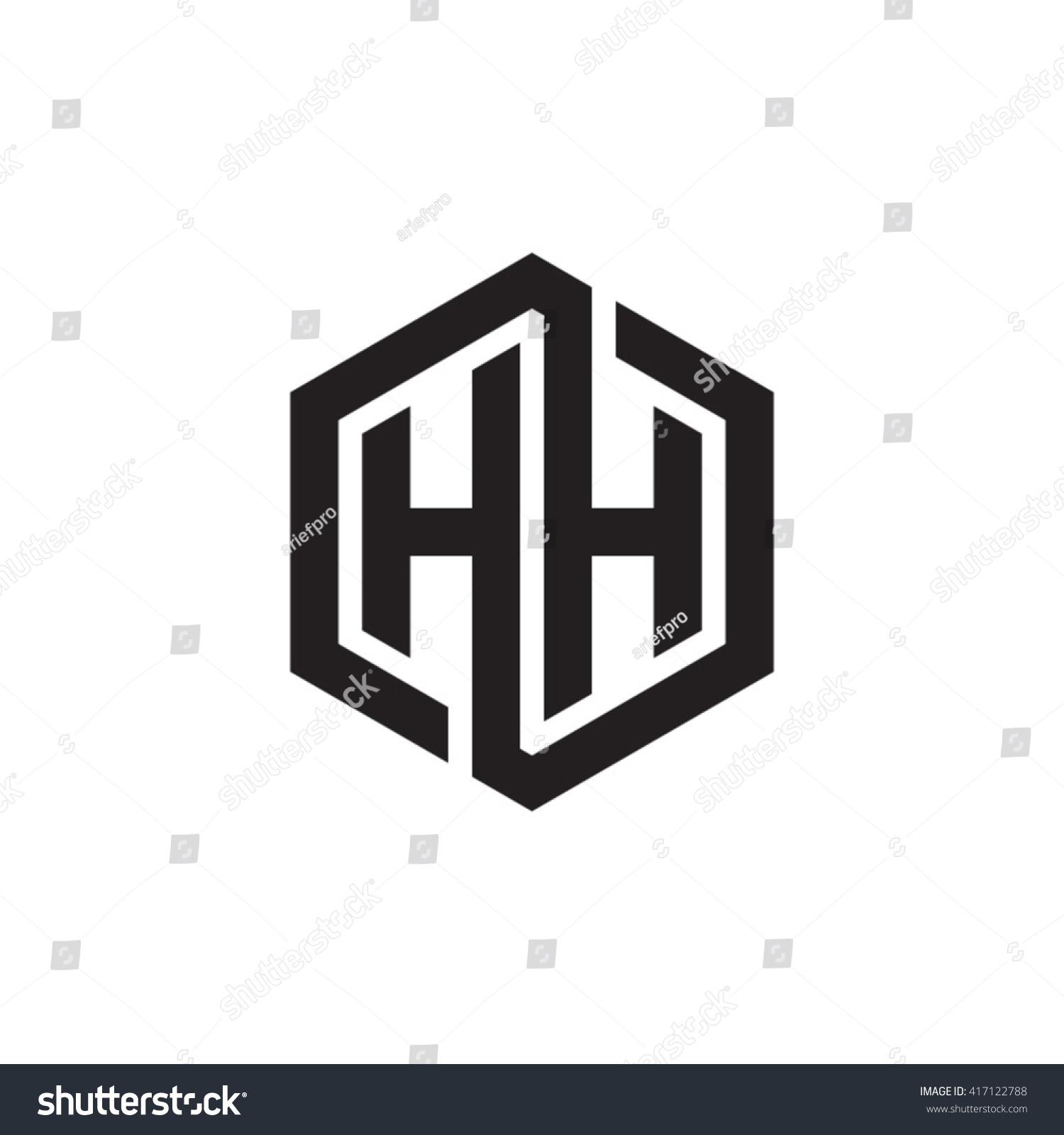 hh initial letters looping linked hexagon stock vector royalty free