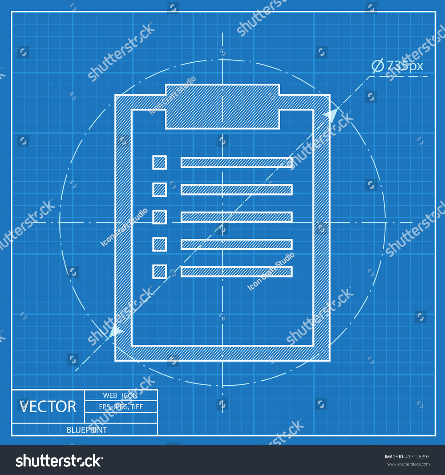 Blueprint icon clipboard document stock vector 417126397 shutterstock blueprint icon of clipboard with document malvernweather Gallery
