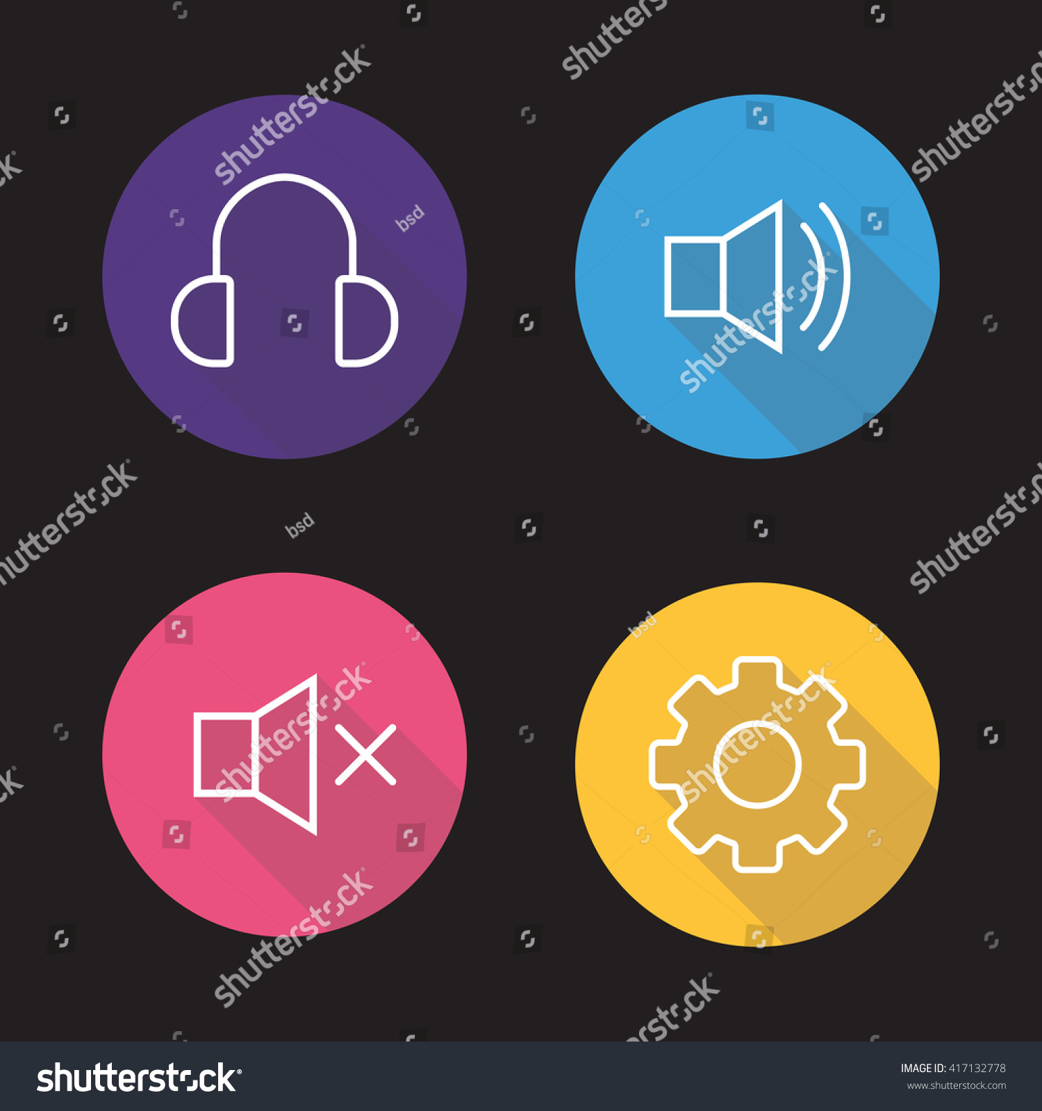 Audio player flat linear icons set stock illustration 417132778 headphones preference gear volume on and off biocorpaavc Images