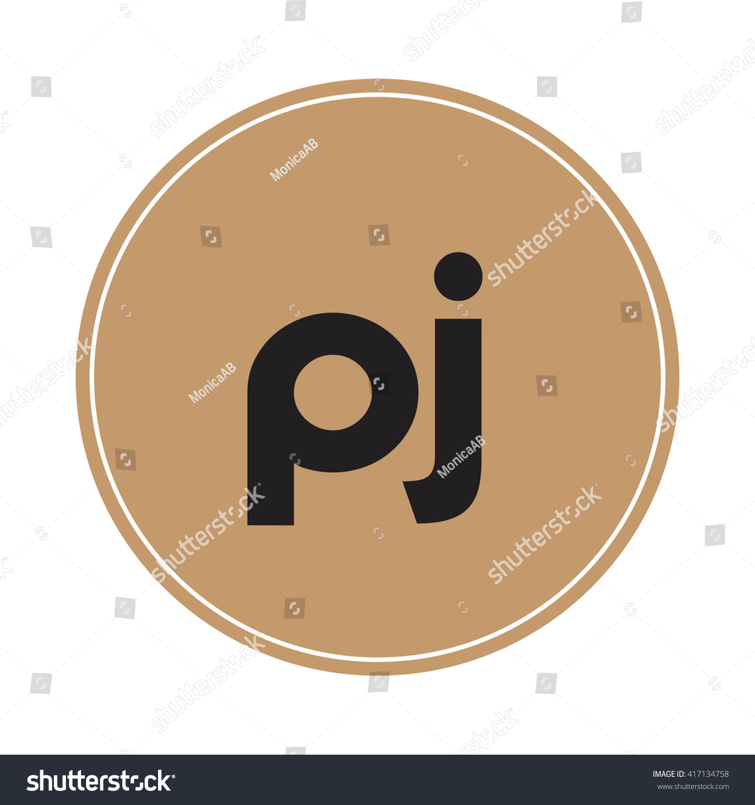 Pj Brown Letters Abstract Background Logo Stock Vector