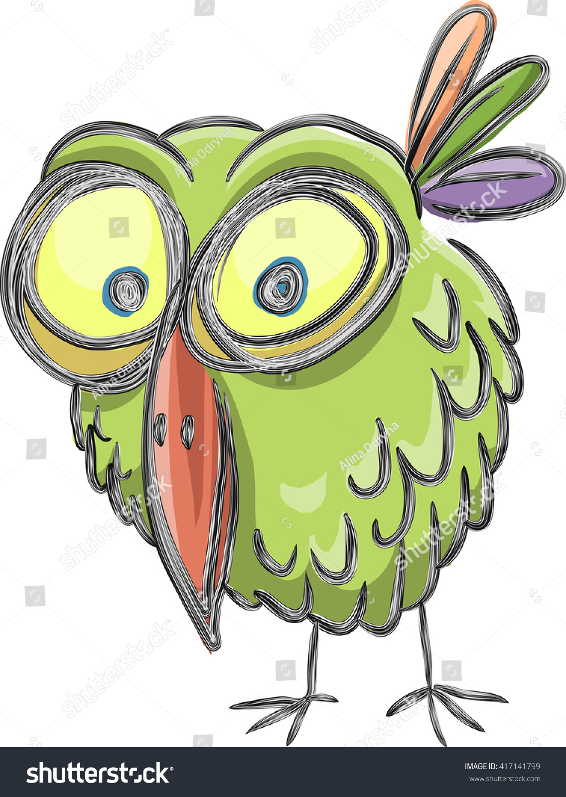 funny cartoon bird sketch vector isolated on white