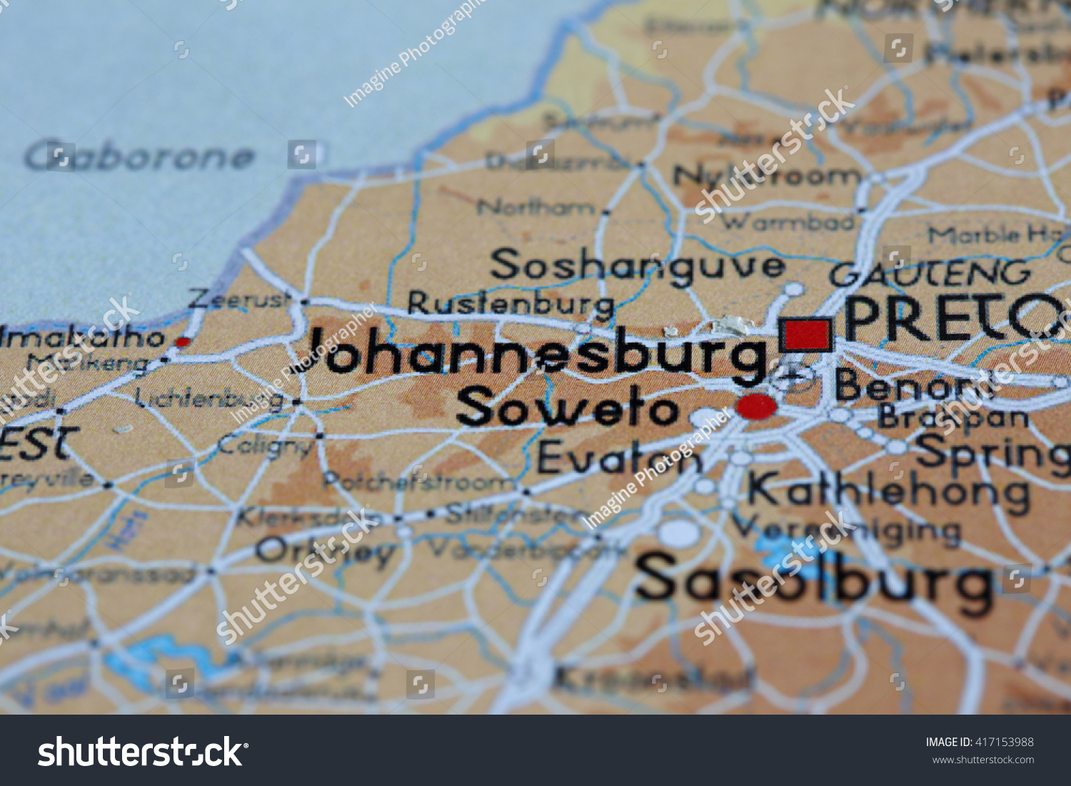 Selective Focus Map View Johannesburg Paper Stock Photo - Johannesburg germany map