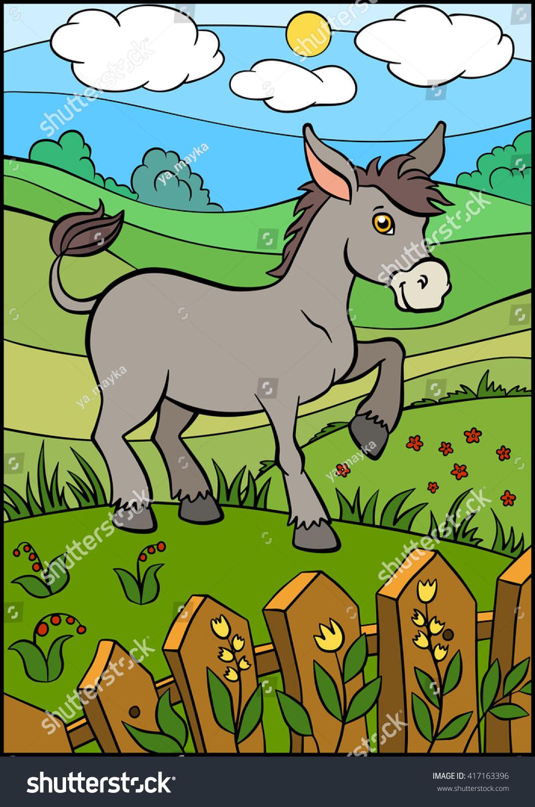 cartoon farm animals kids cute small stock vector 417163396