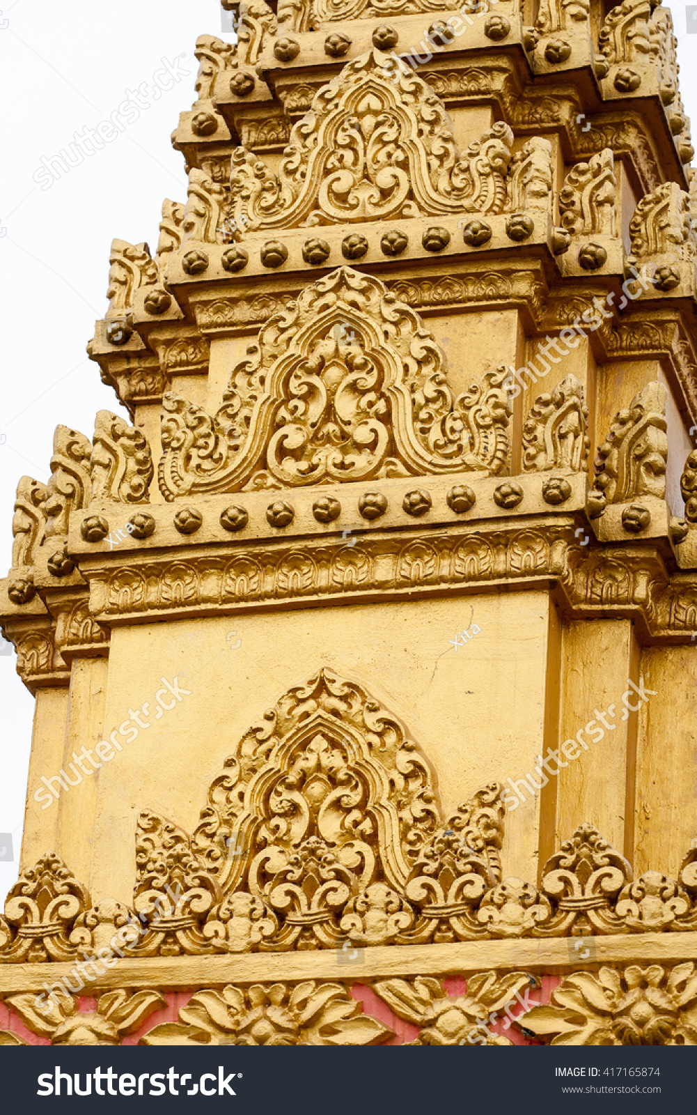 Floral Art On Wall Khmer Buddhist Stock Photo (Download Now ...