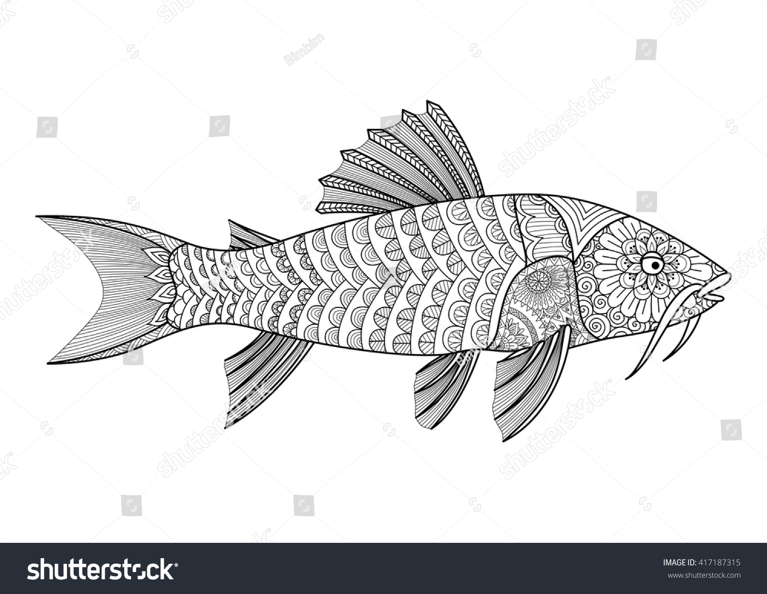zentangle stylized armored catfish coloring book stock vector