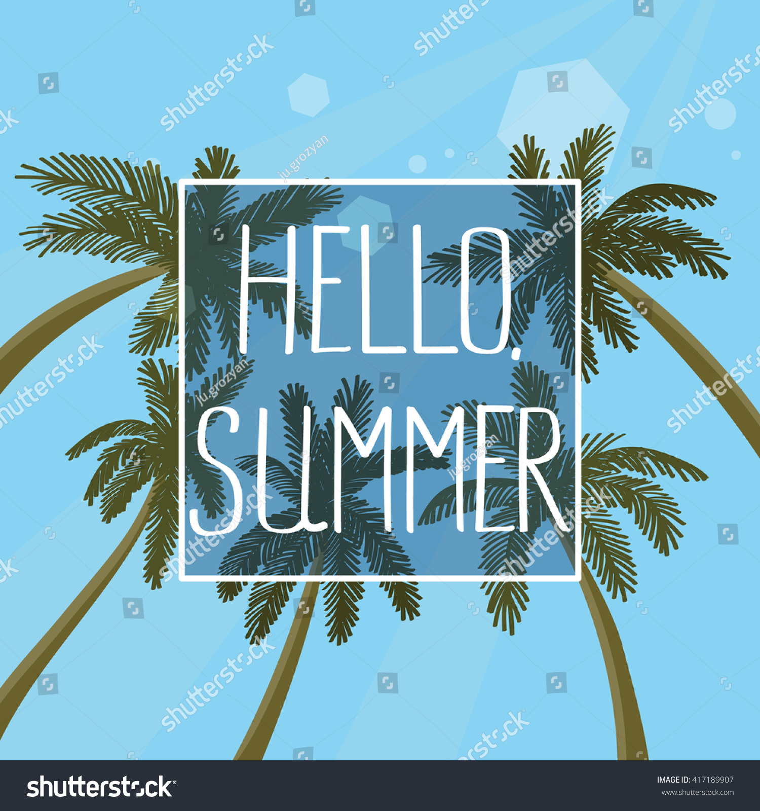 Hello Summer Hand Drawn Lettering Quote On A Palm Trees Background With  Blue Sky.