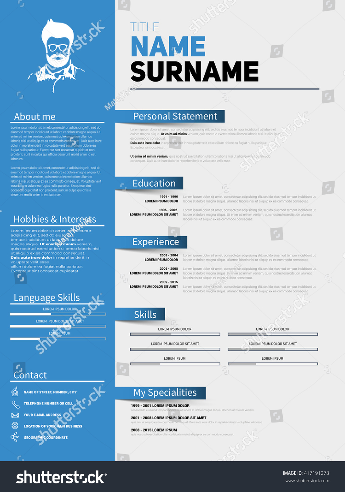 resume minimalist cv resume template simple stock vector 417191278