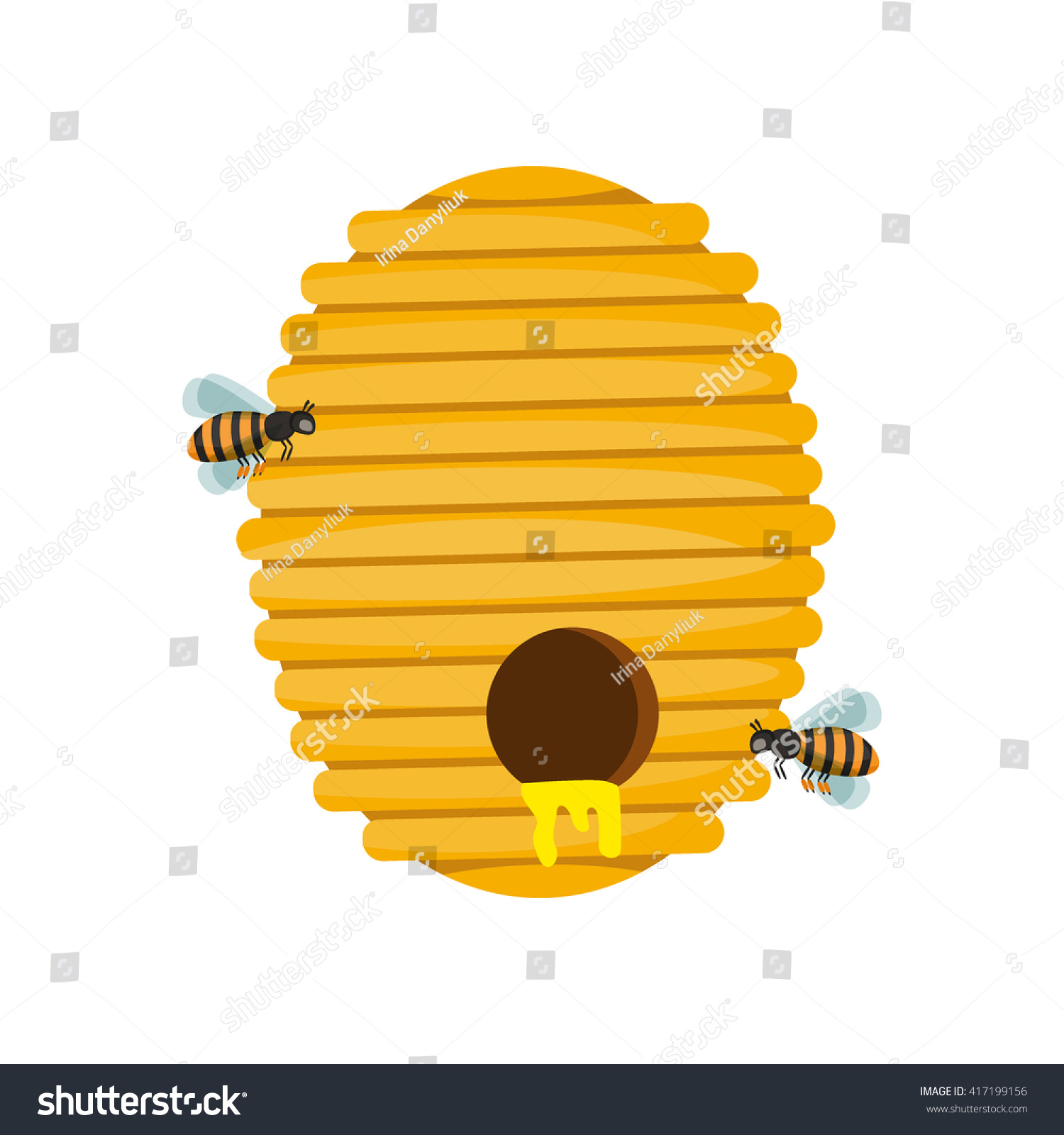 Board Illustration Beehive Surrounded By Bees 417199156