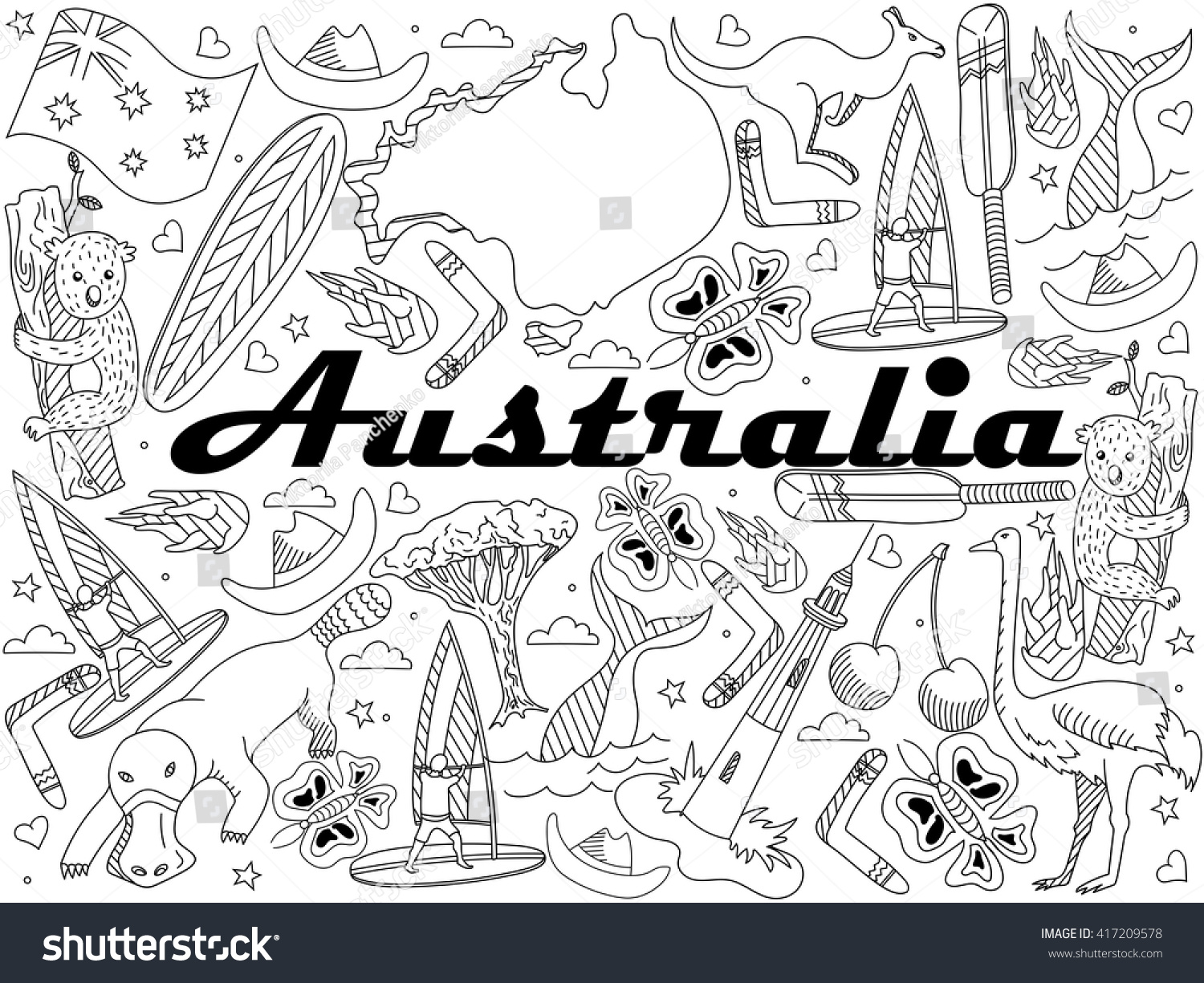 Vector Line Art Doodle Set Of Cartoon Characters And Objects On Australia Coloring Book
