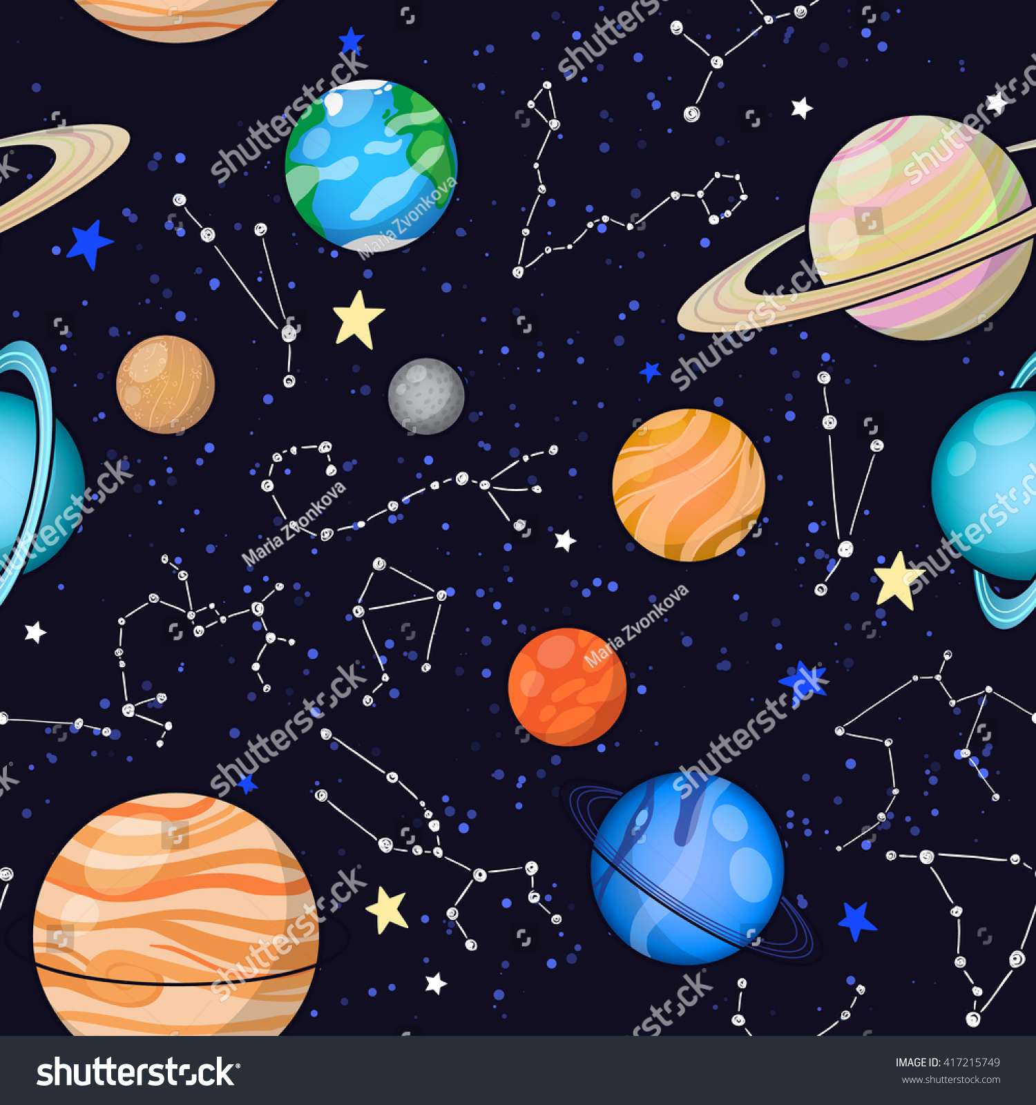 Seamless Space Pattern Background Planets Stars Stock