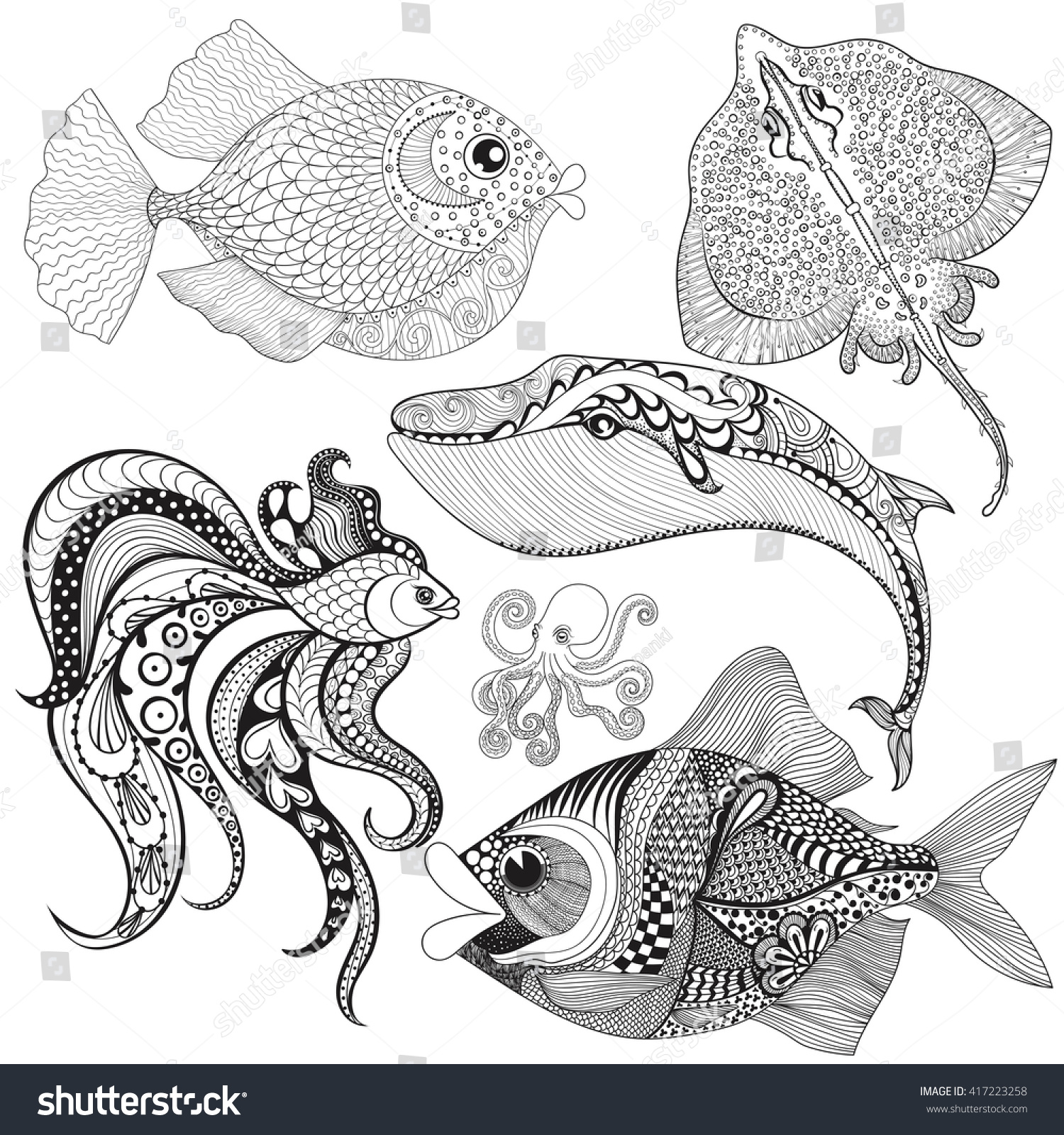 hand drawn zentangle fishes whale octopus stock vector 417223258