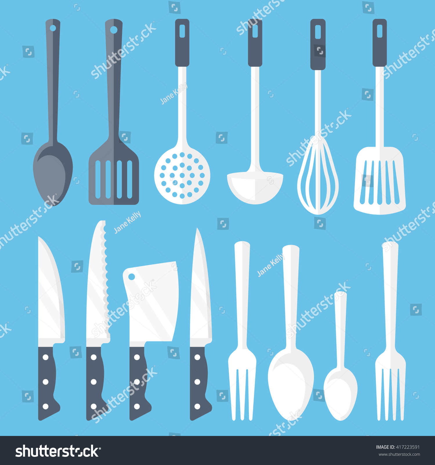 Kitchen Tools Flat Icons Set Colorful Stock Vector HD (Royalty Free ...