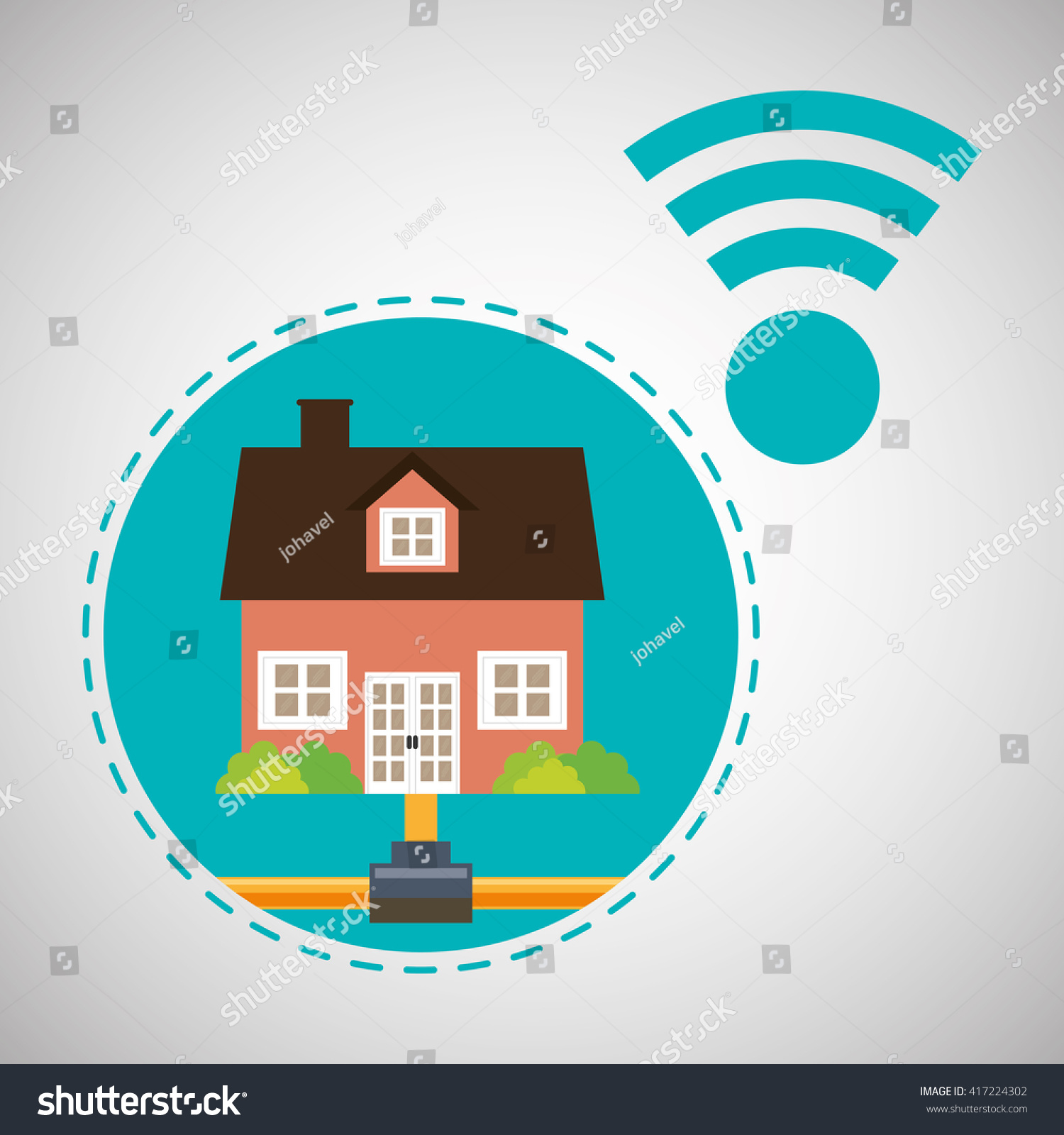 Home Automation Design Smart House Icon Stock Vector