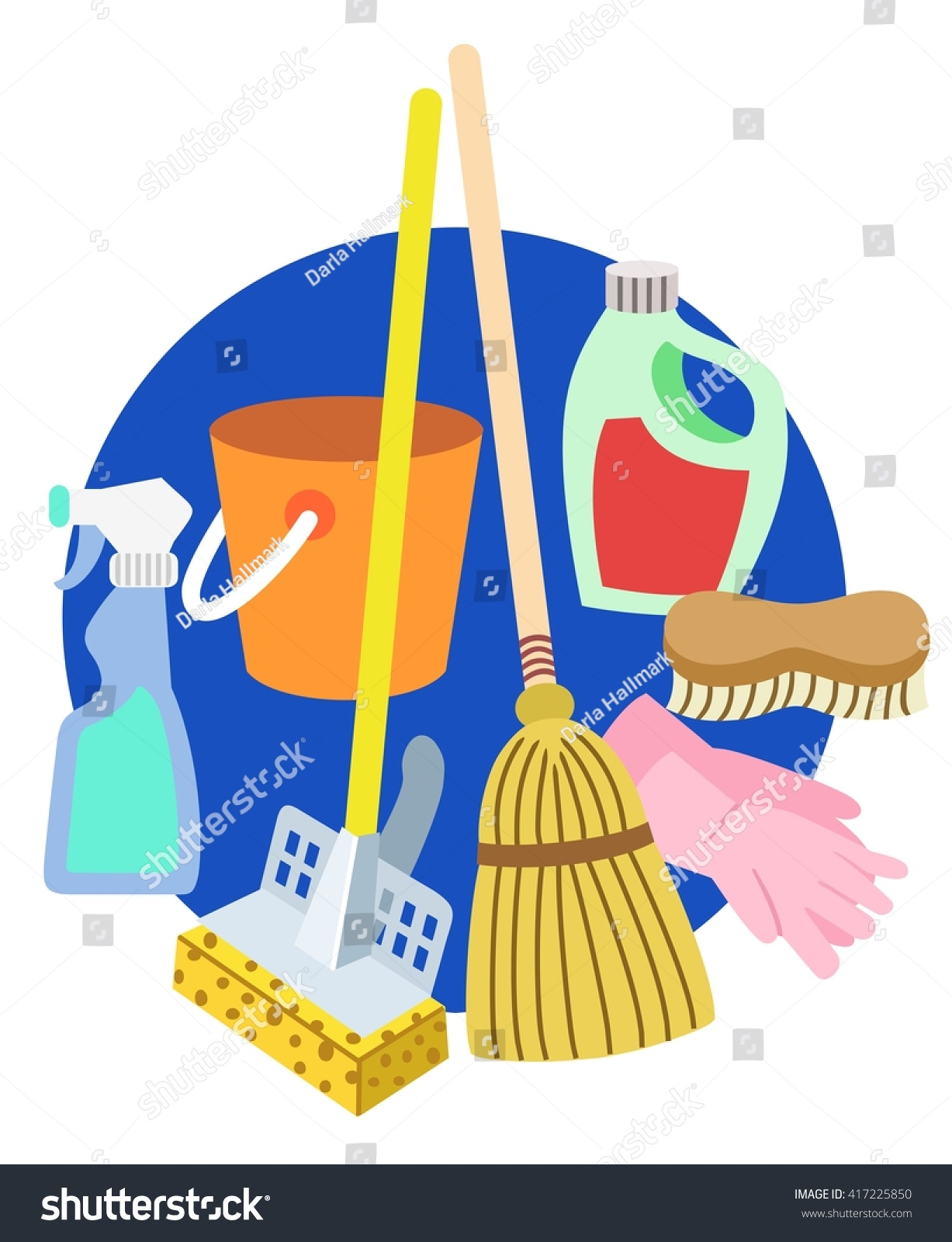 Cleaning Supplies Symbols Stock Vector Royalty Free 417225850