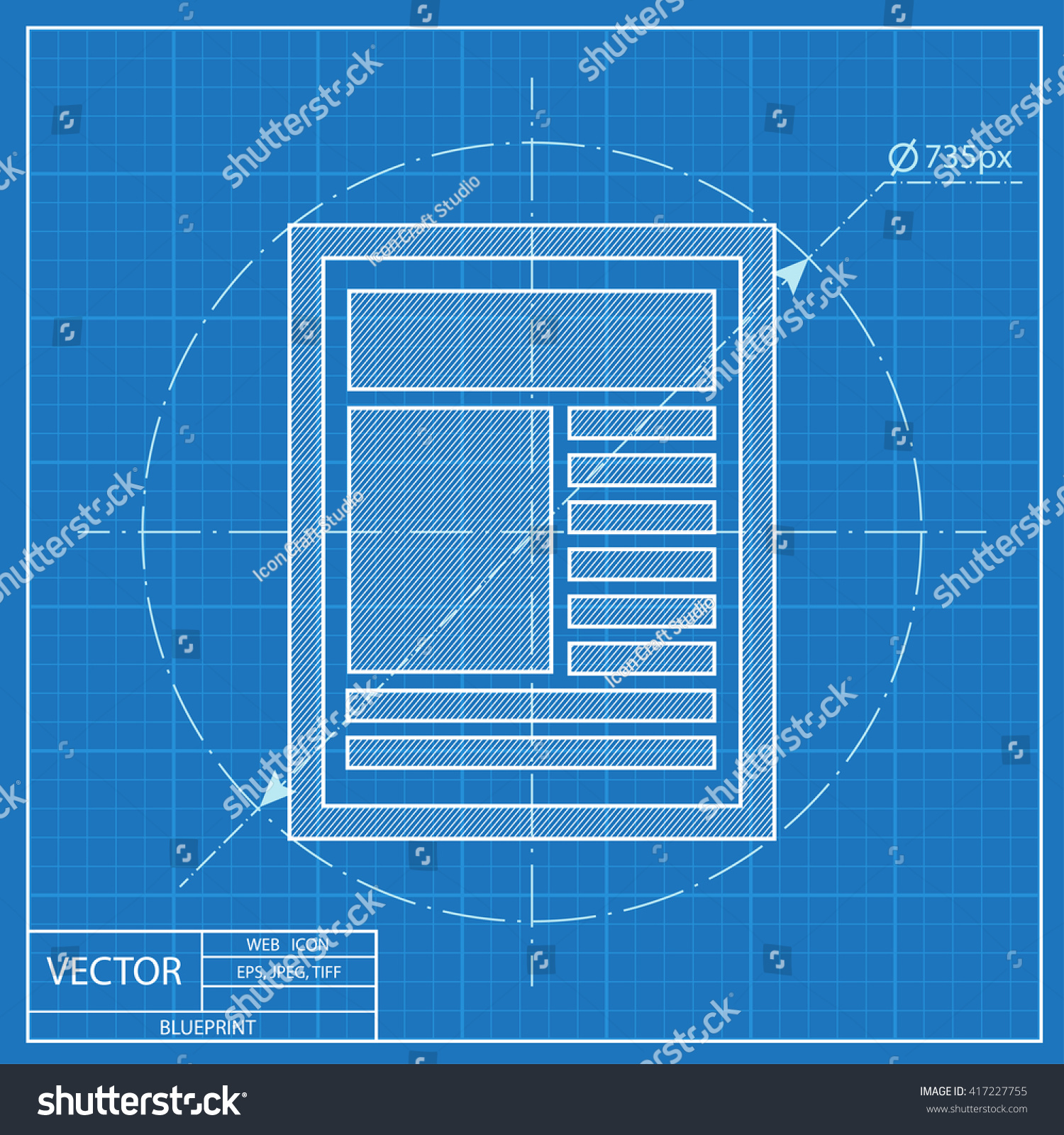 Blueprint icon newspaper stock vector 417227755 shutterstock blueprint icon of newspaper malvernweather Images