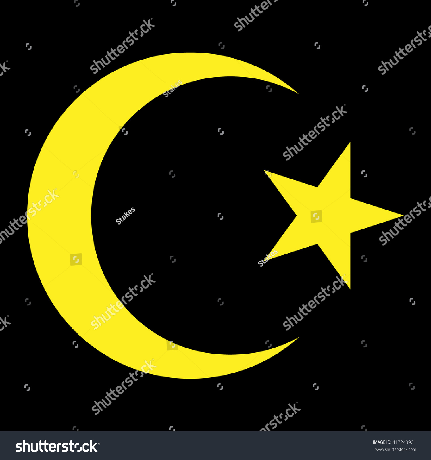 Star Crescent Islam Symbol Gold On Stock Vector Royalty Free