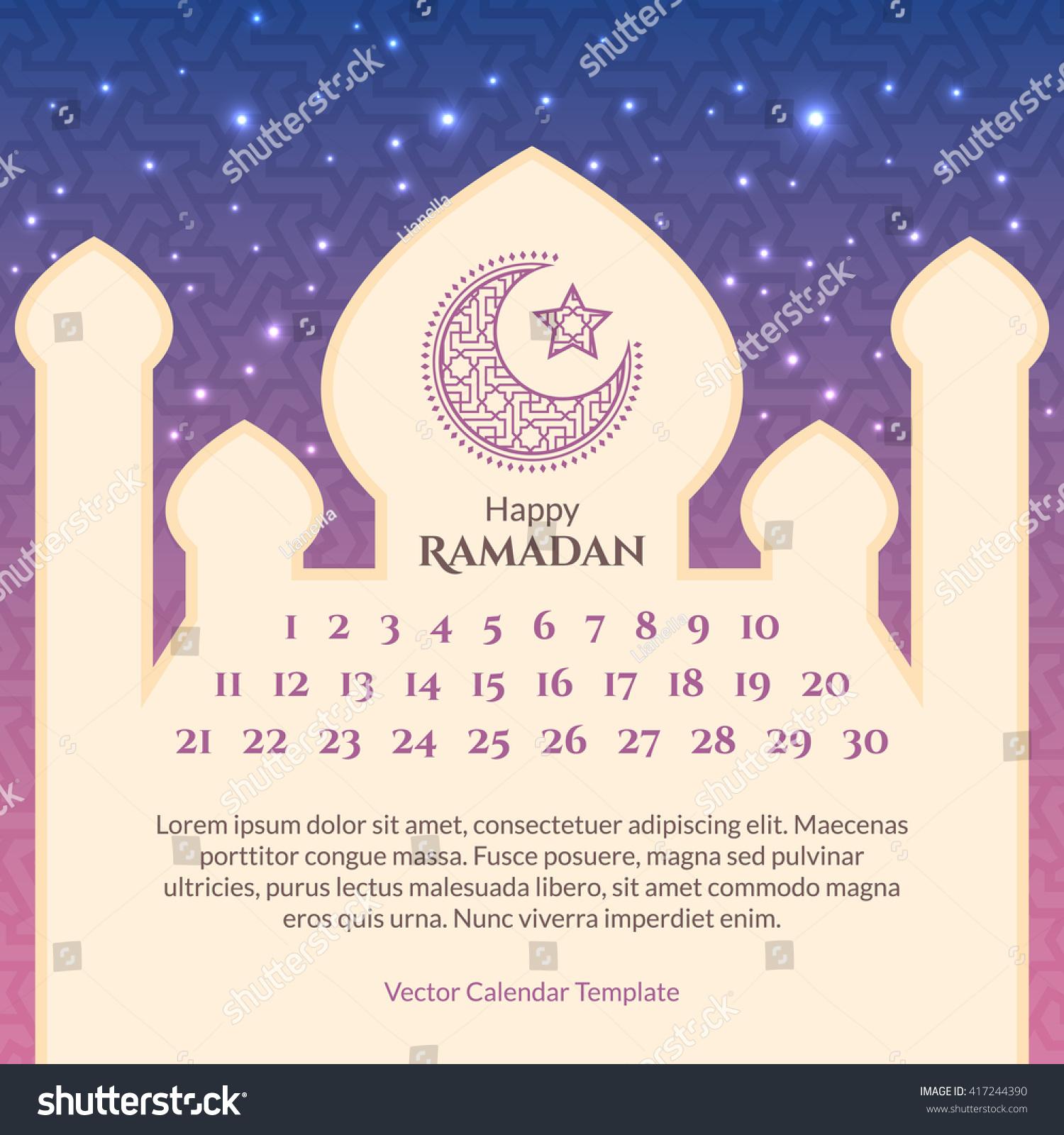 Ramadan Calendar Template Islamic Greeting Background Stock Vector ...